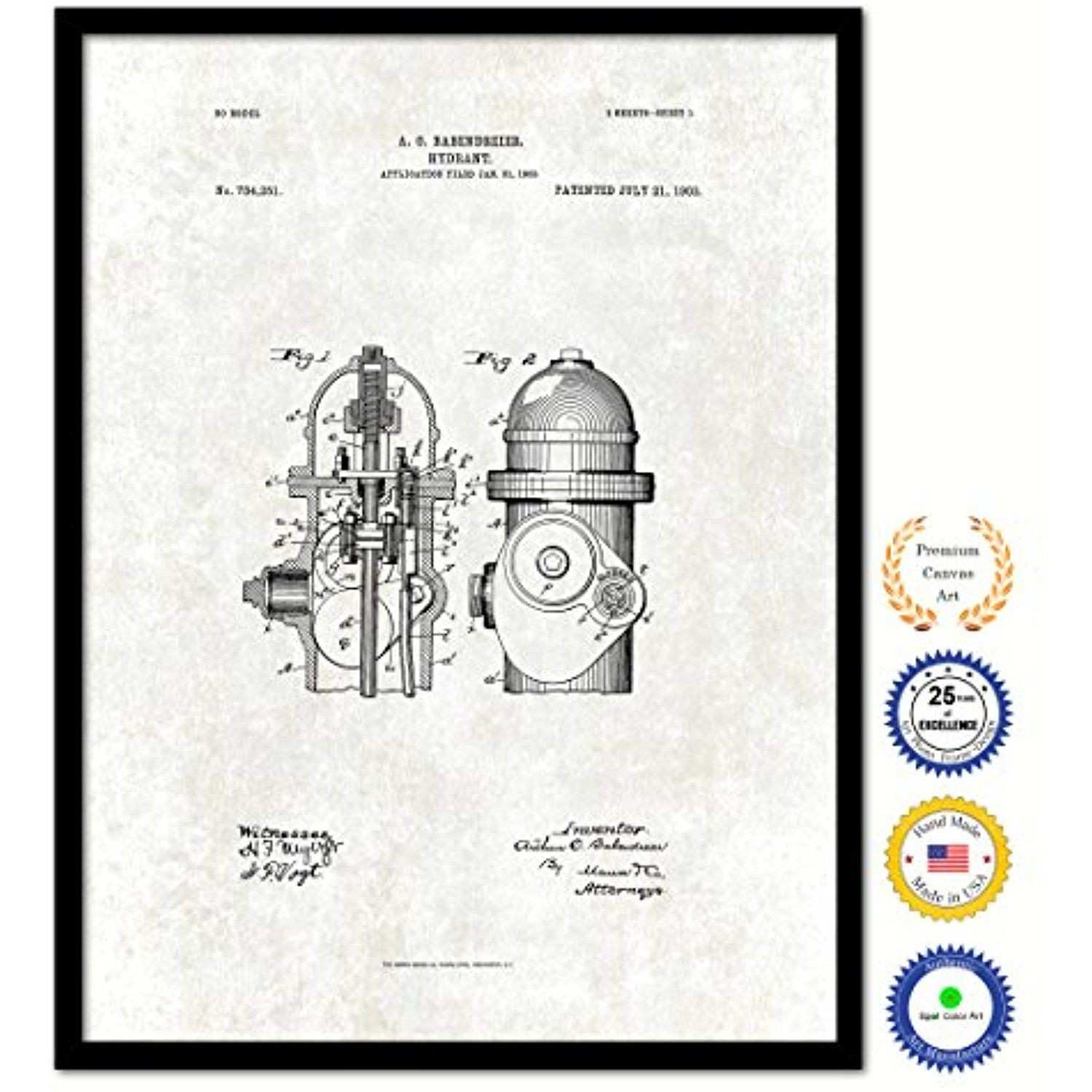 1903 Firefighter Hydrant Vintage Antique Patent Artwork Great for