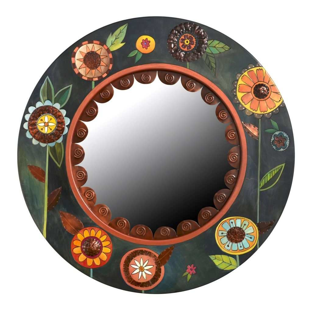 Big Round Mirror Luxury Floral Circle Mirror by Sticks Wood Mirror