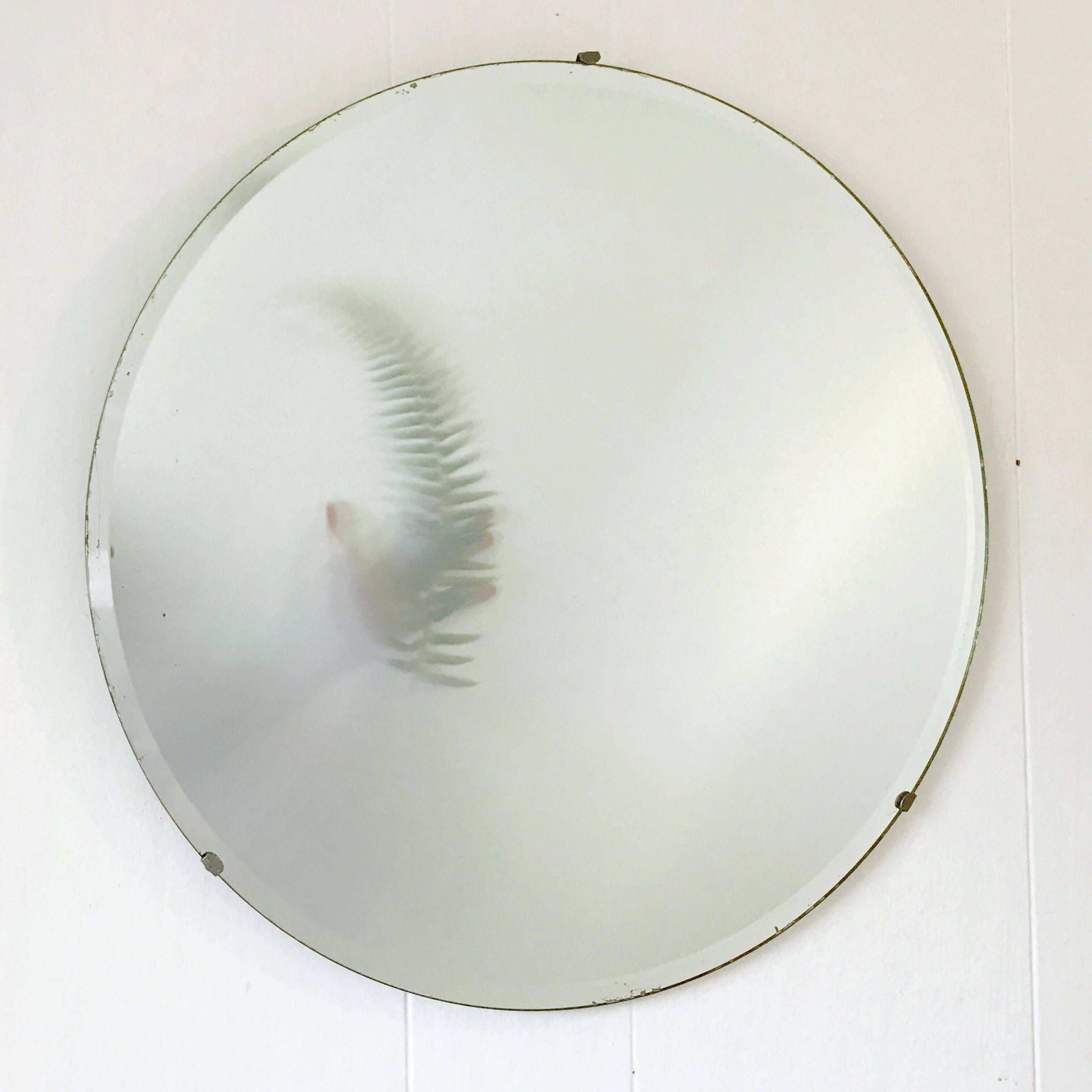 vintage wall mirror large round beveled edge simple mirror