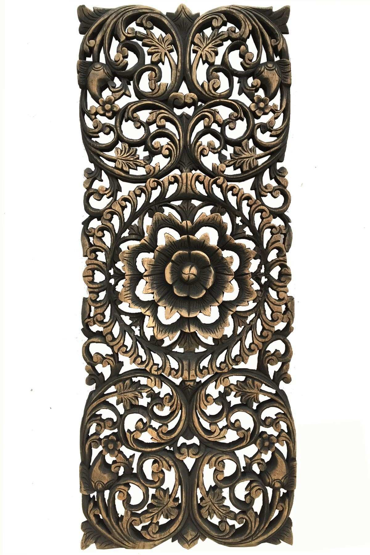Floral Tropical Carved Wood Wall Panel Asian Wall Art Home Decor