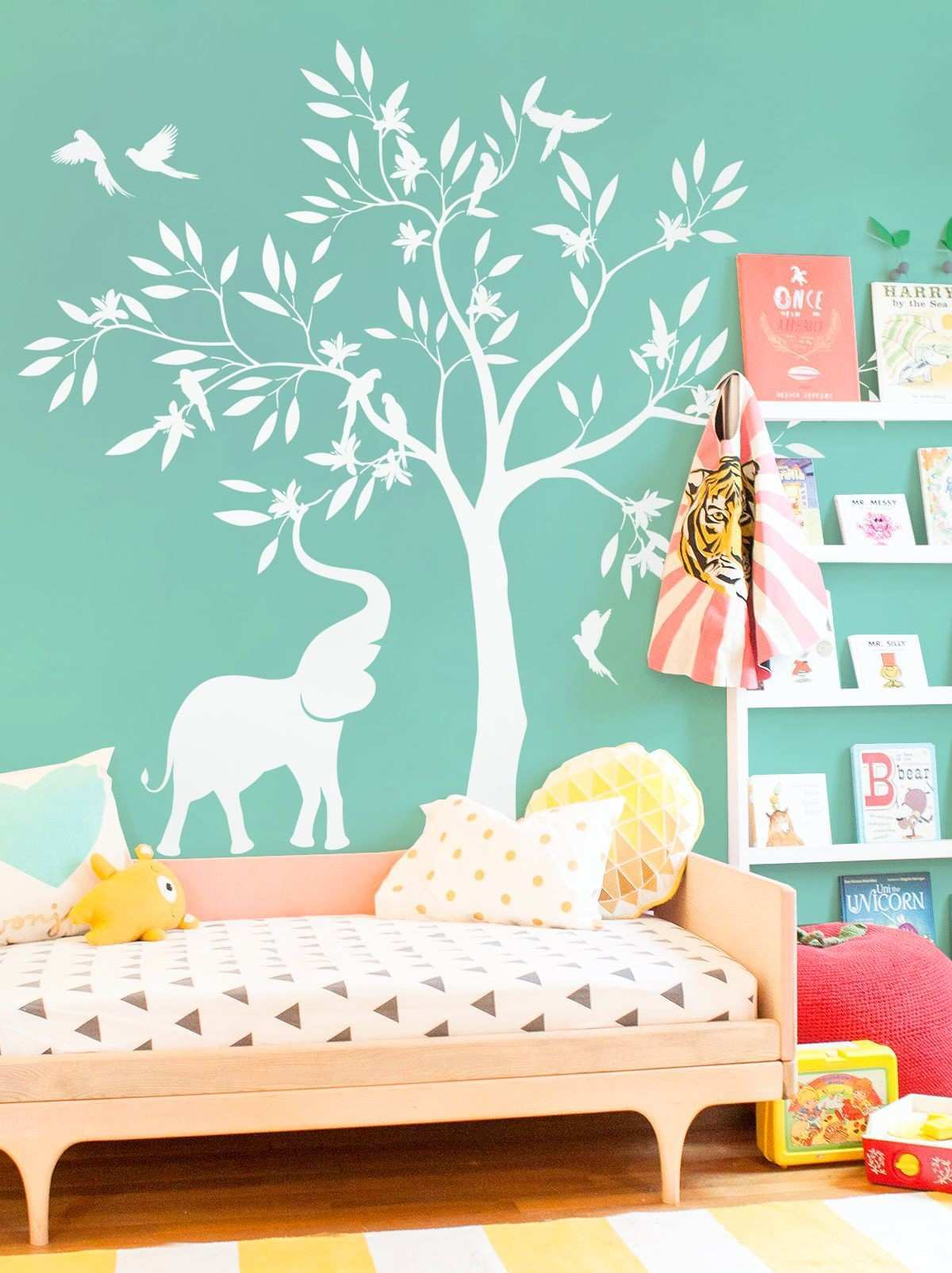 Elegant White Tree Wall Decal White Elephant Elephant Birds Tree