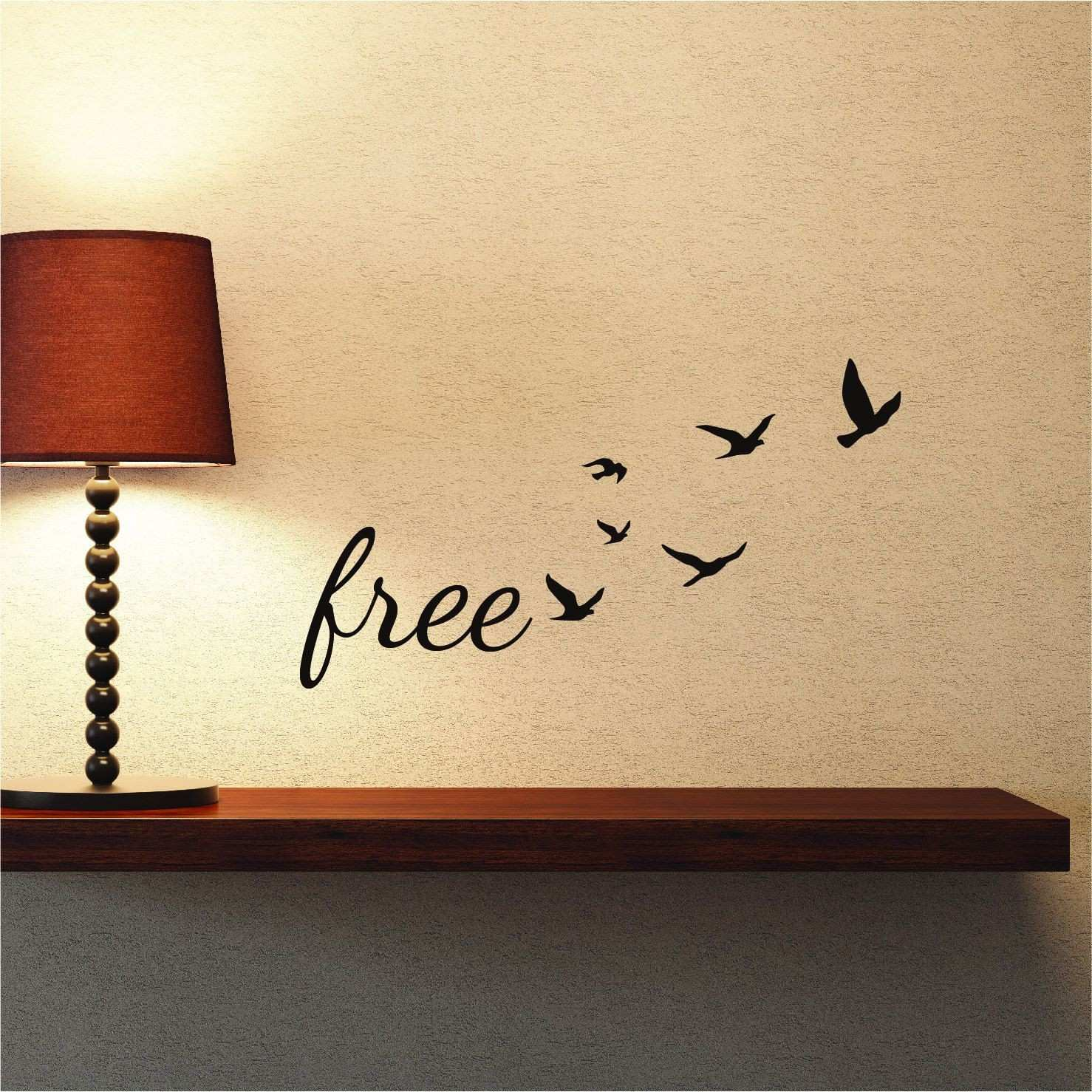 Freedom Wall Decal Quote with Flock Flying Birds Scheme Bird