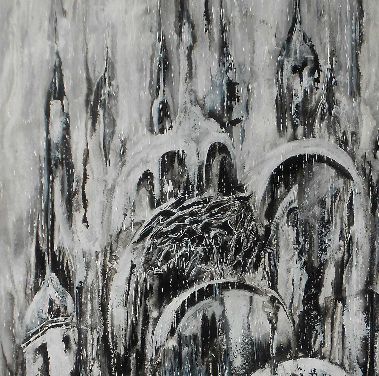 Digital print abstract city black and white painting the return