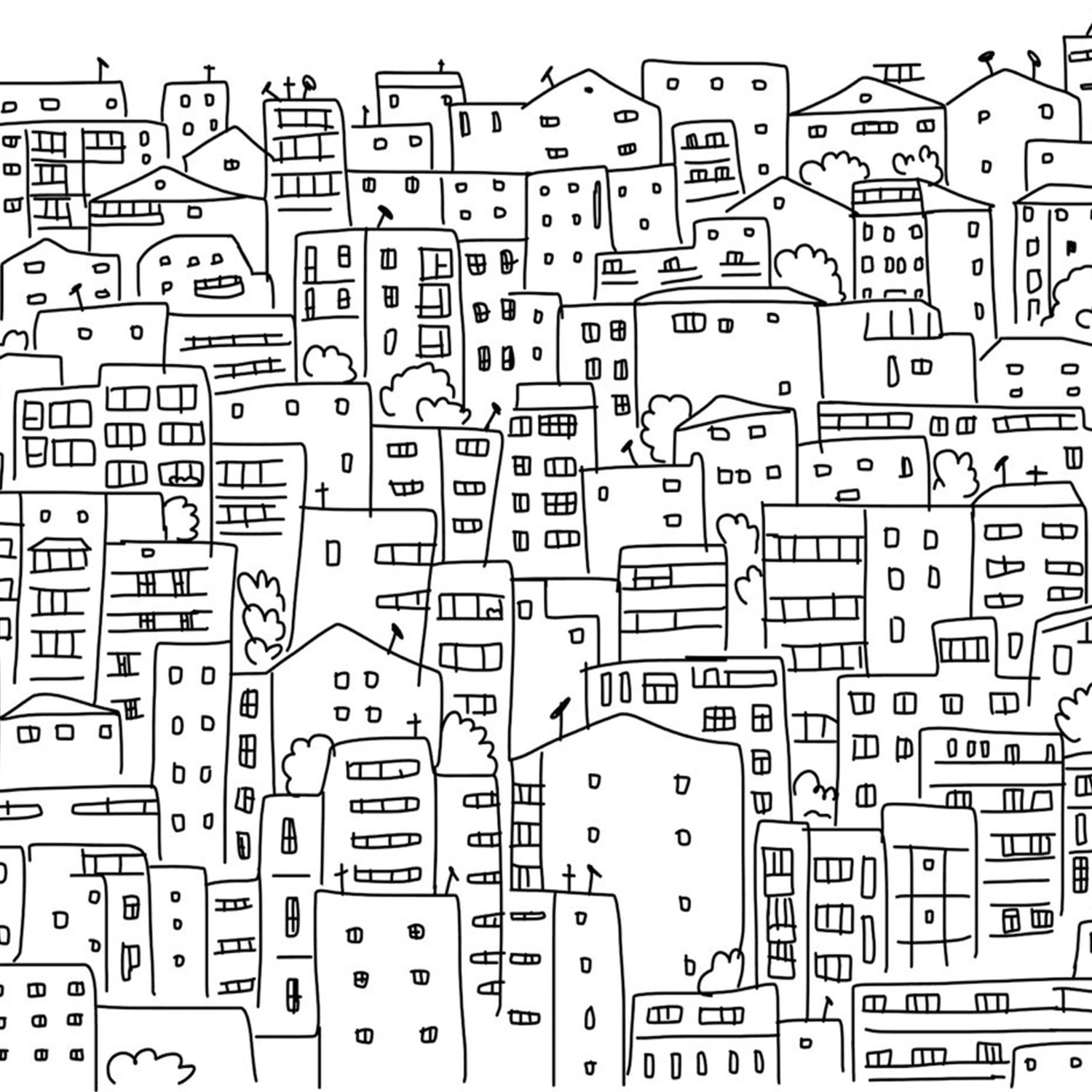 Black And White City Drawing at GetDrawings