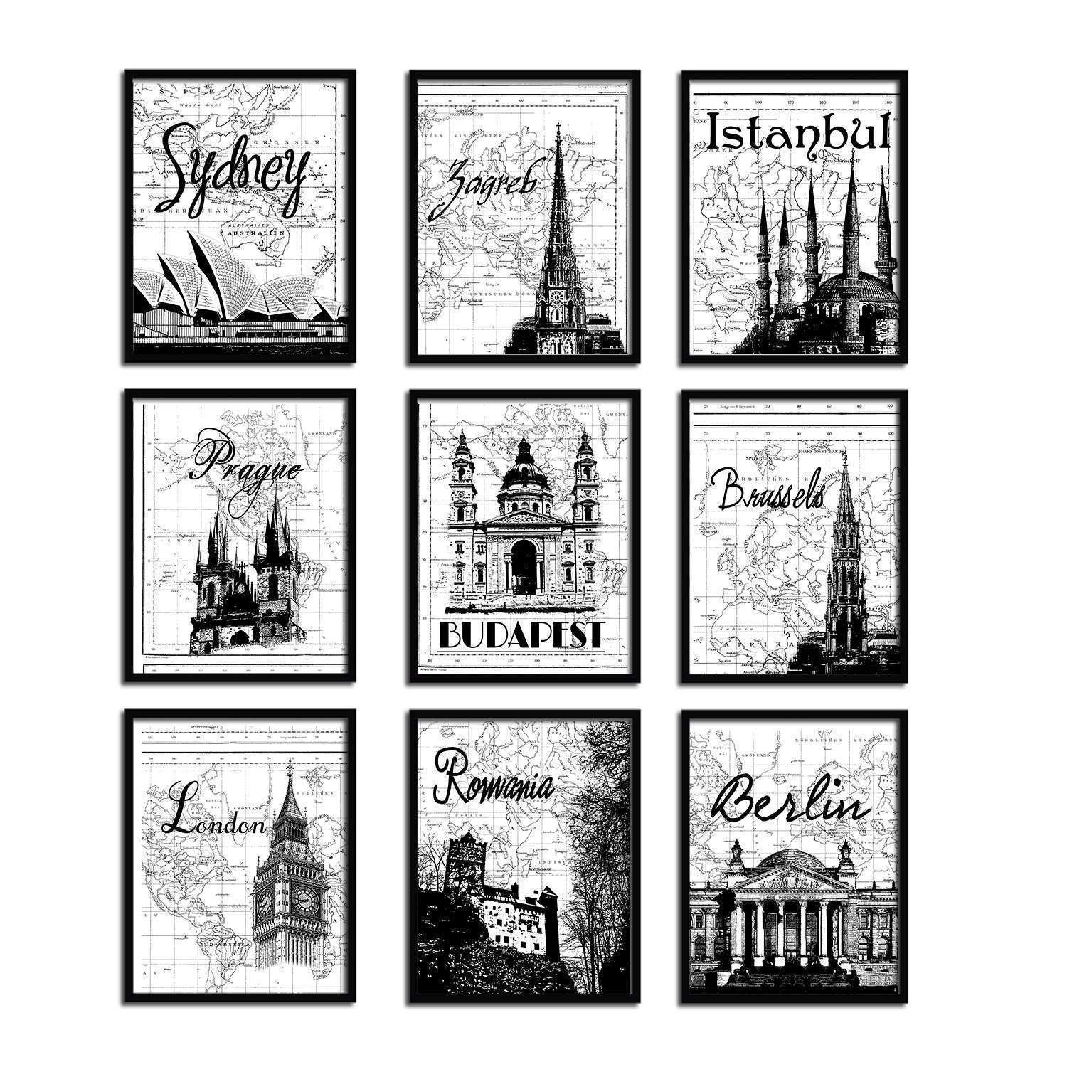 Black And White Moroccan 6 Pack Wall Art Clipgoo