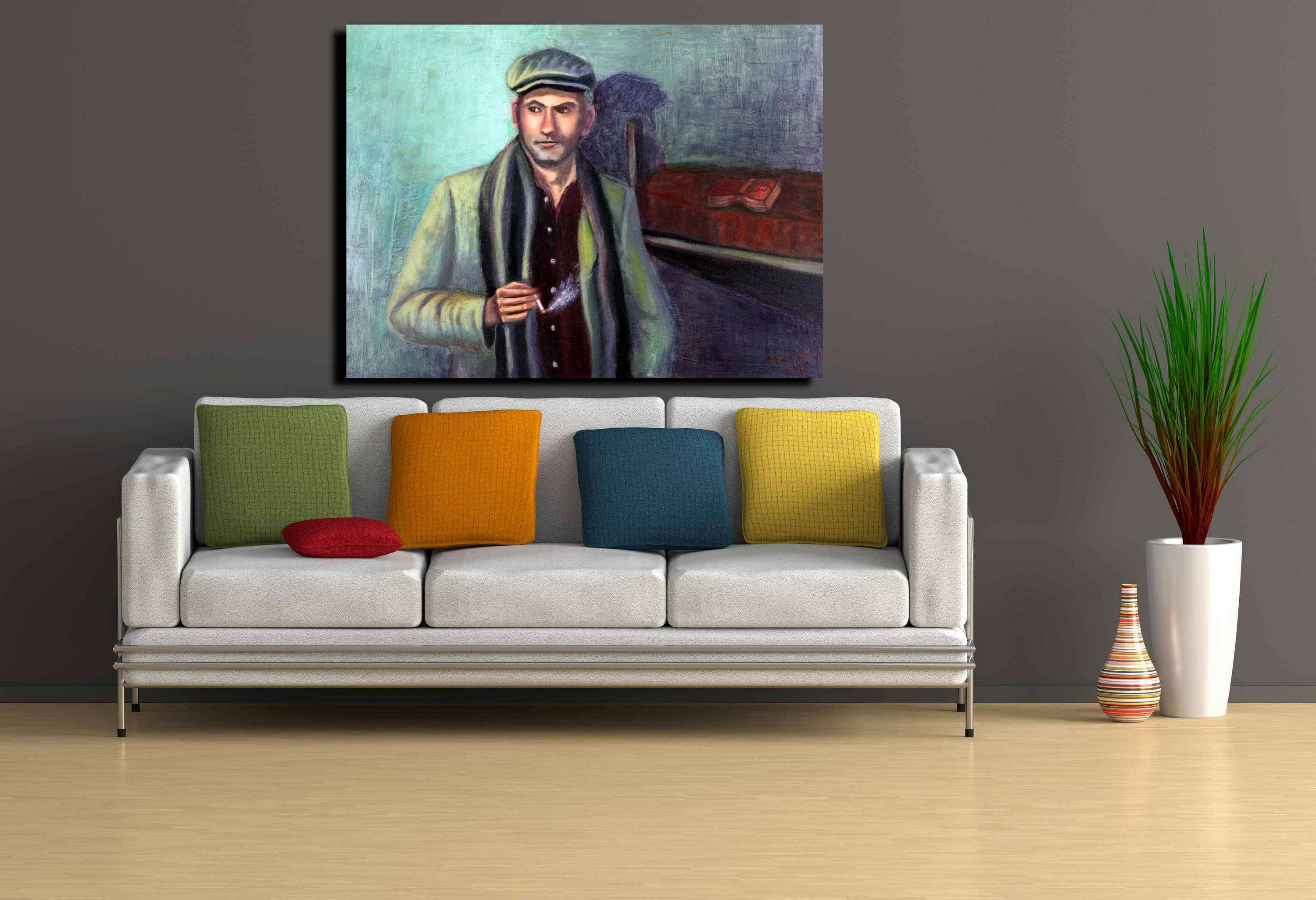 Black and White Wall Art Man Portrait Painting wall art large