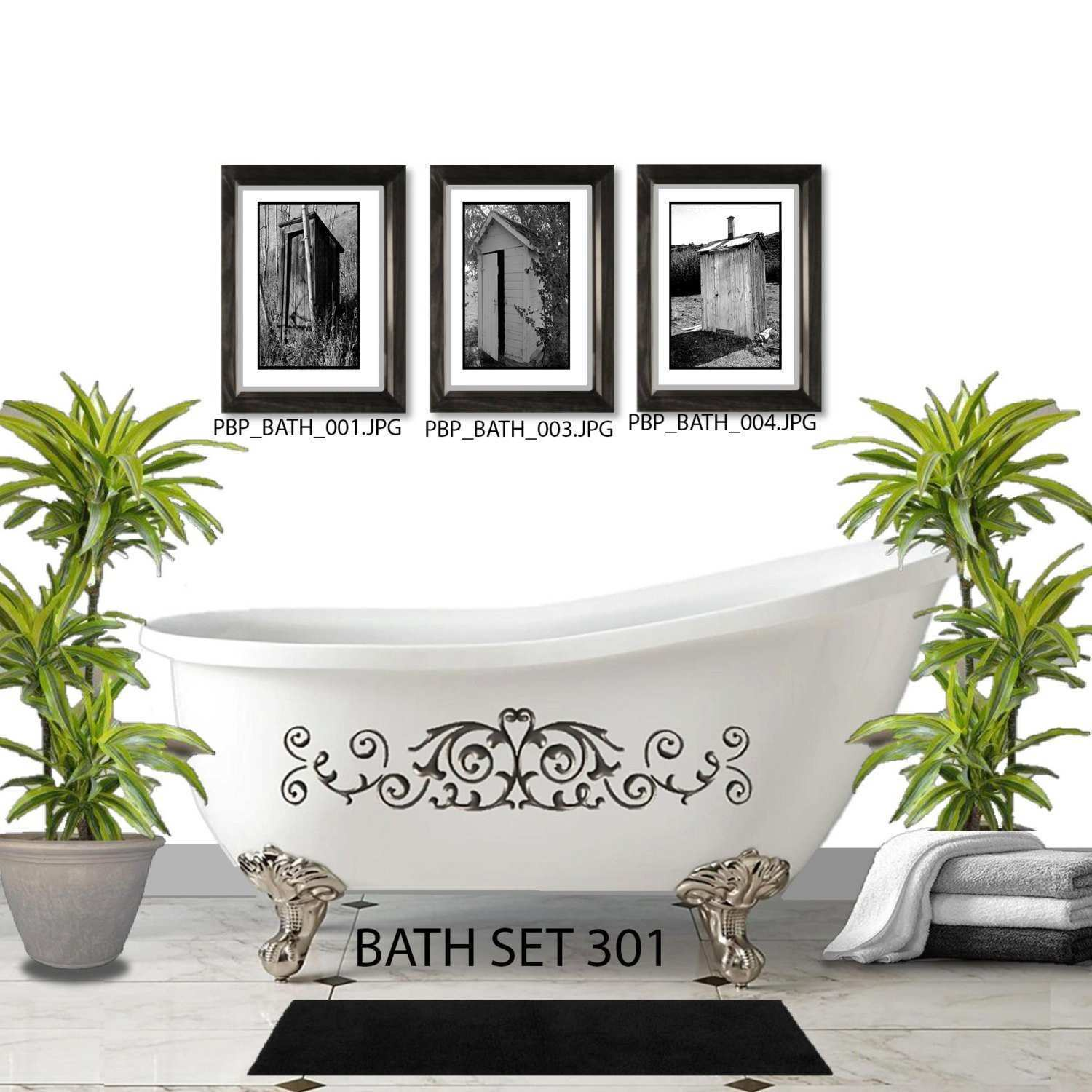 OUTHOUSE WALL SET 3 Framed And Matted Prints Free Shipping Black