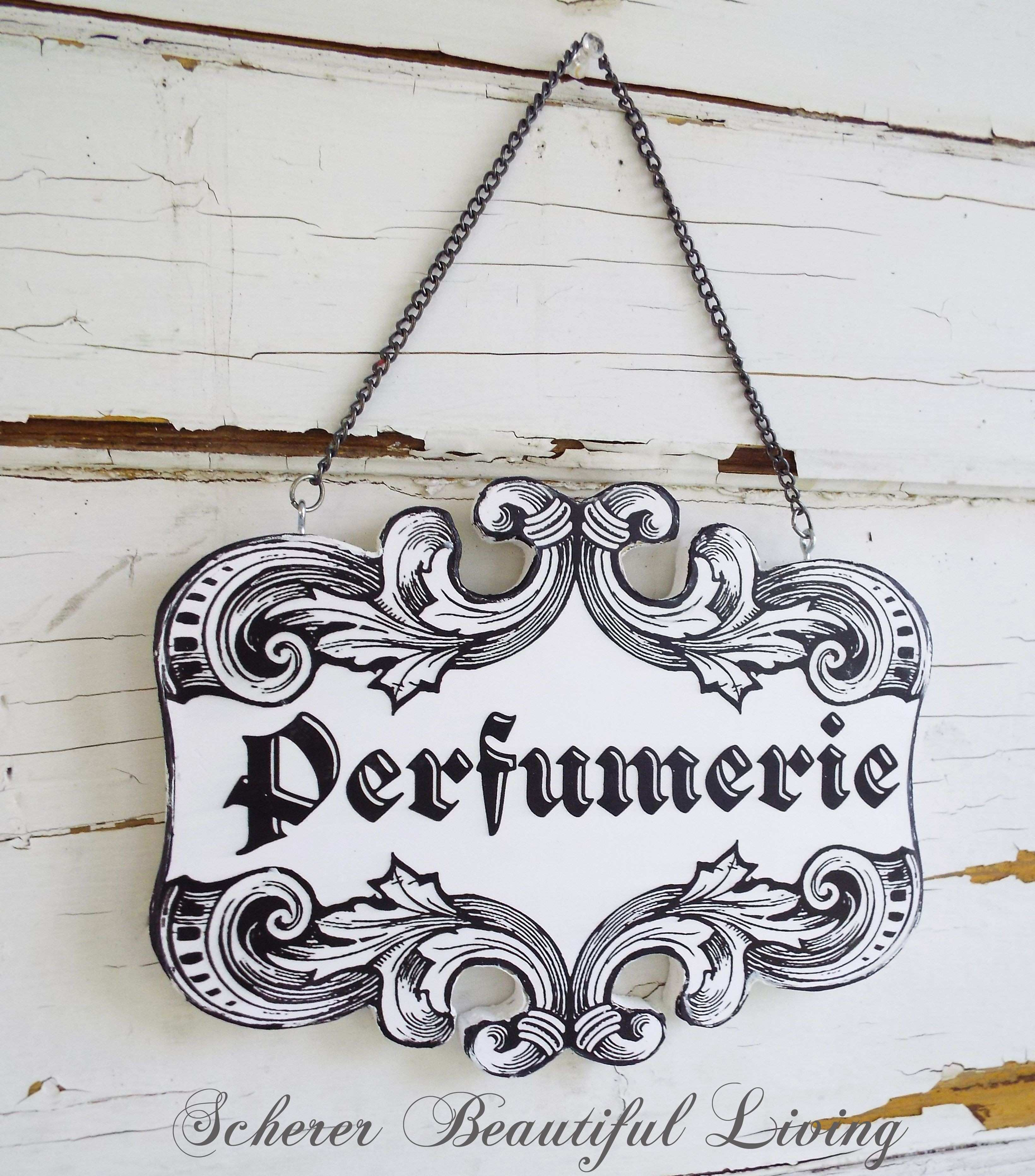 Rococo French Perfume Plaque Sign Home Decor Black and White Chic