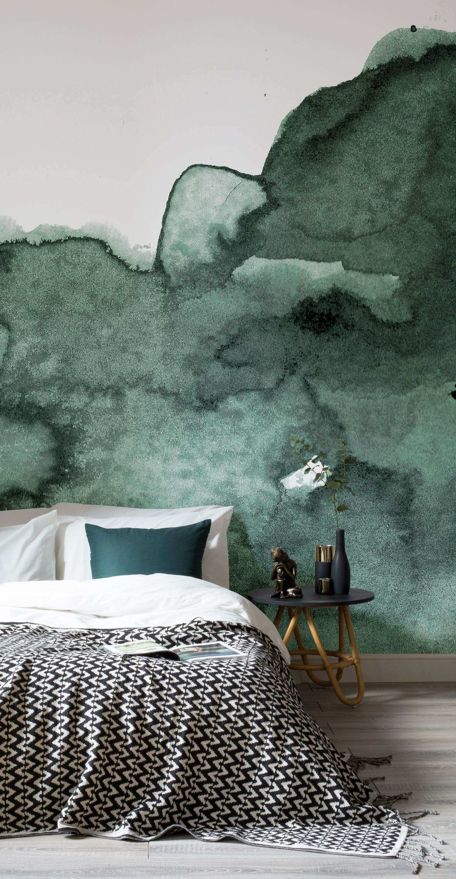 Bedroom Mural Ideas Best Green Abstract Watercolor Wall Mural