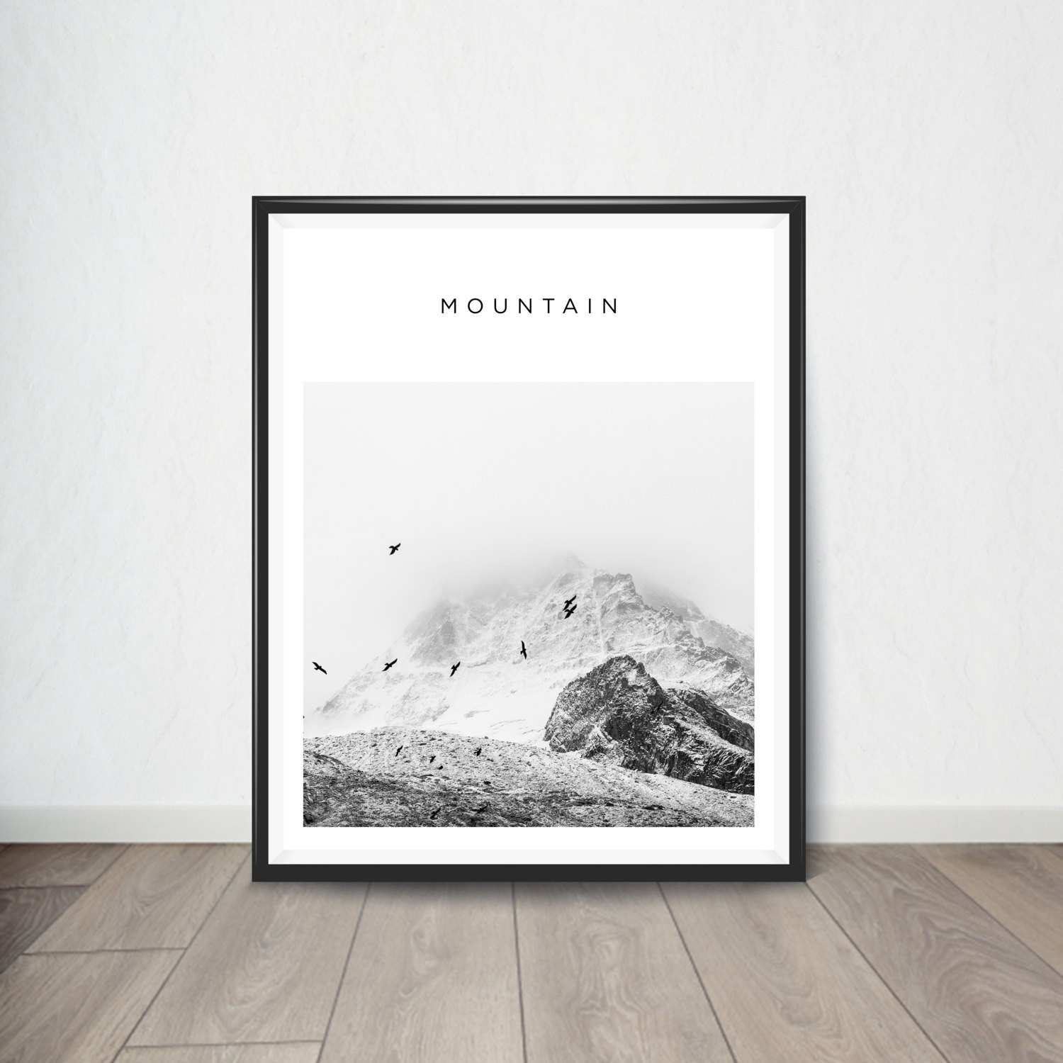 Mountain Print Minimalist Wall Art Black And White Mountain Super Tech