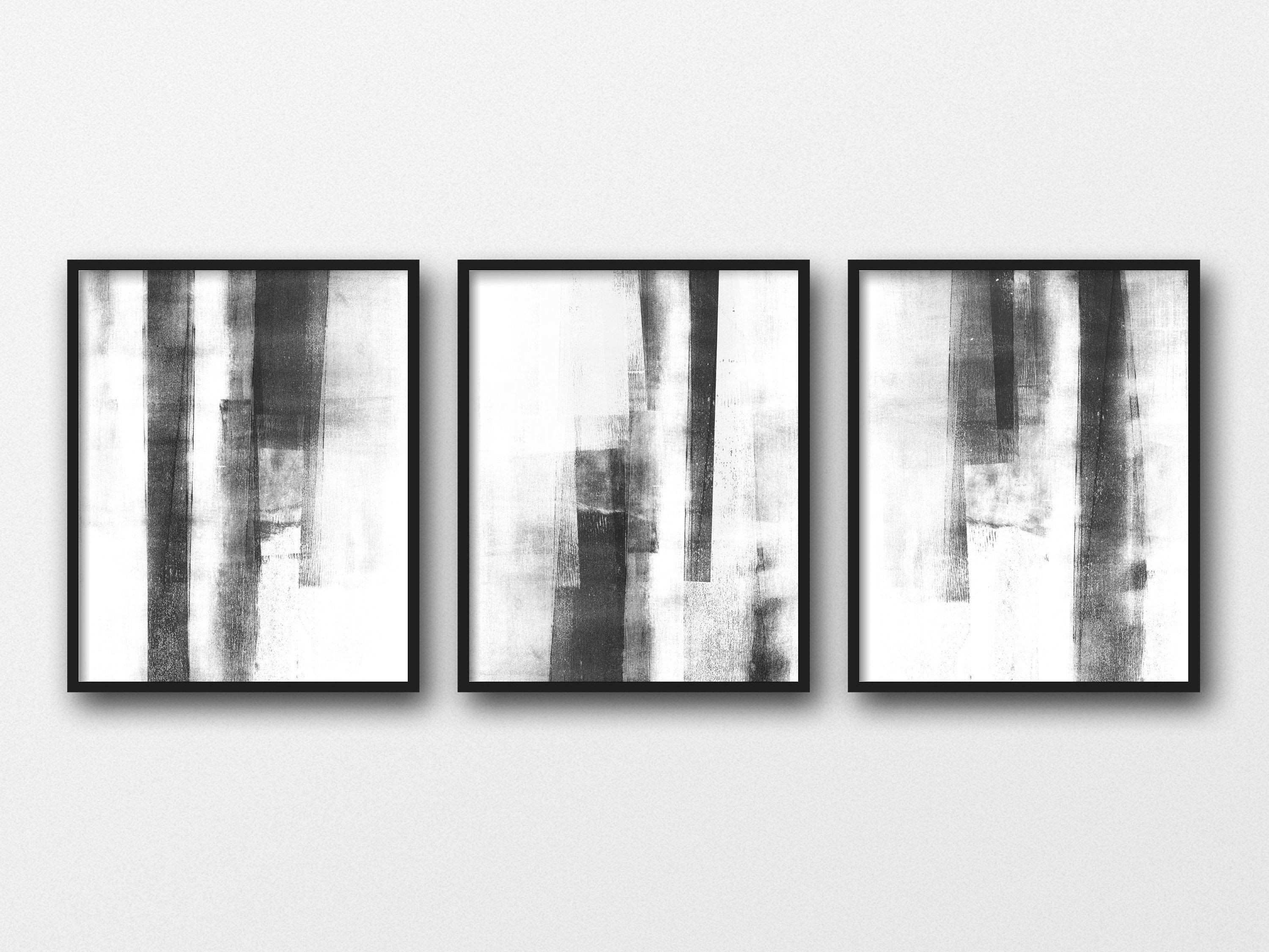 Abstract Art Set of 3 Prints Minimalist Poster Scandinavian