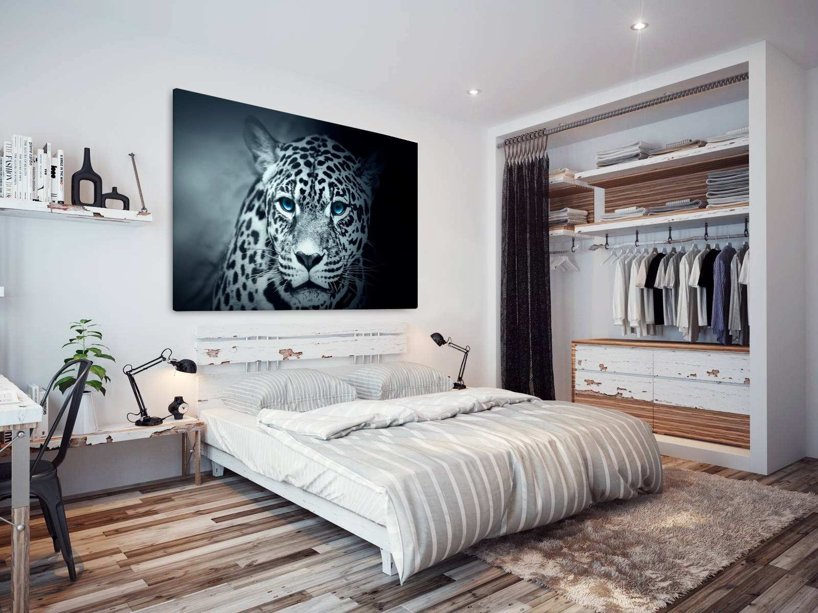 A740 Blue Black White Snow Leopard Animal Canvas Wall Art Framed
