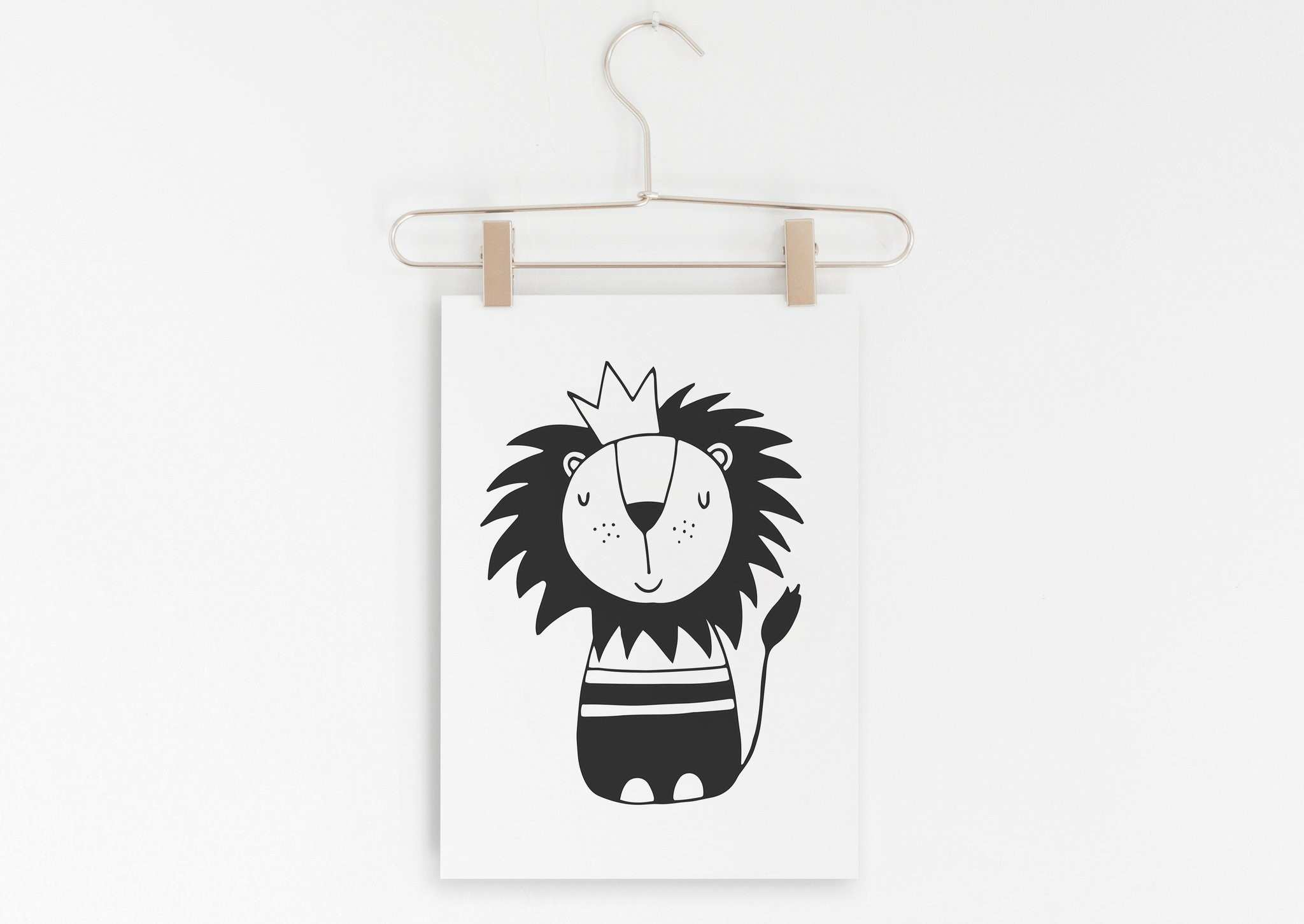 Lion Monochrome Black and White Baby Boy Nursery Printable Wall