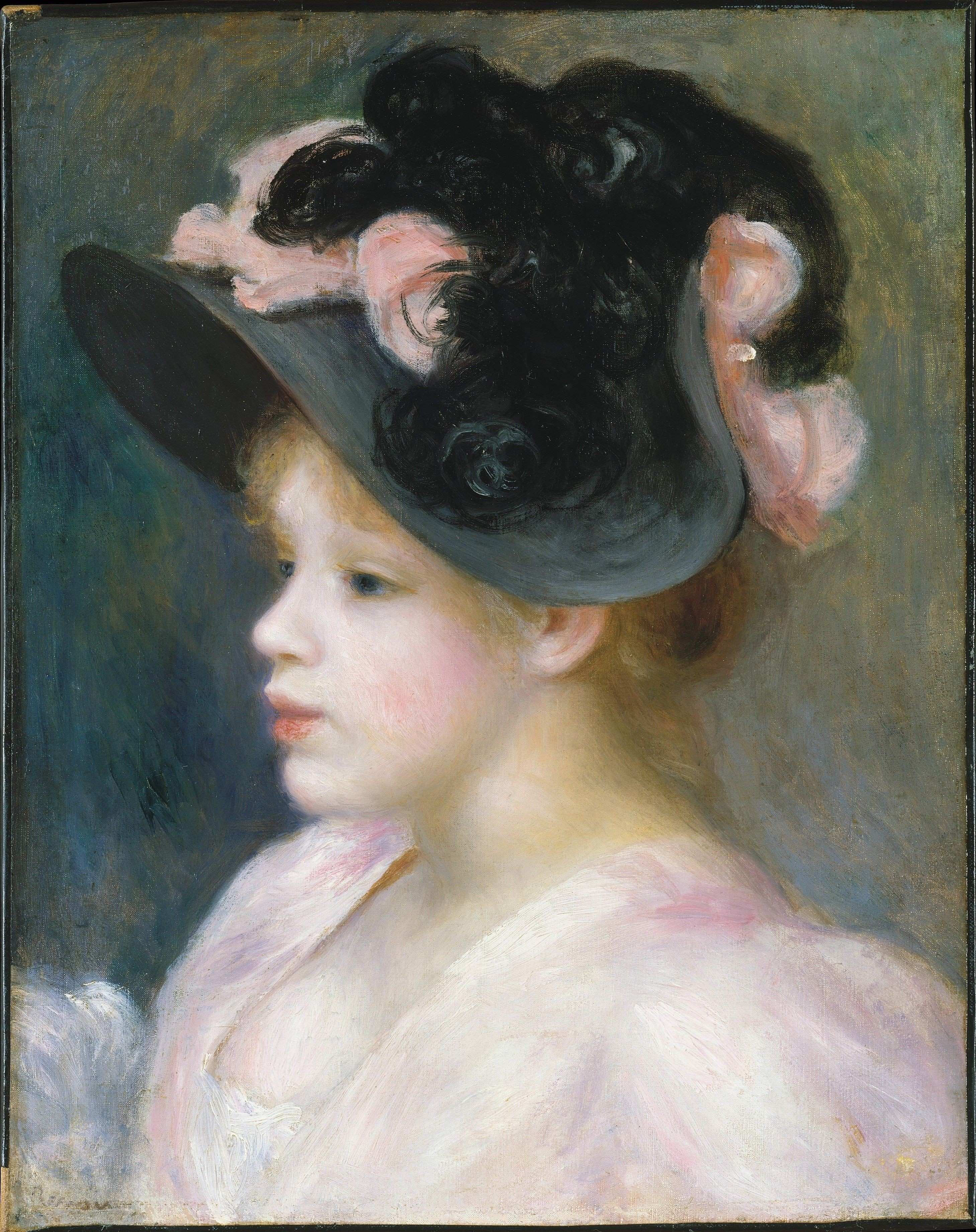Young Girl in a Pink and Black Hat 1890s Pierre Auguste Renoir