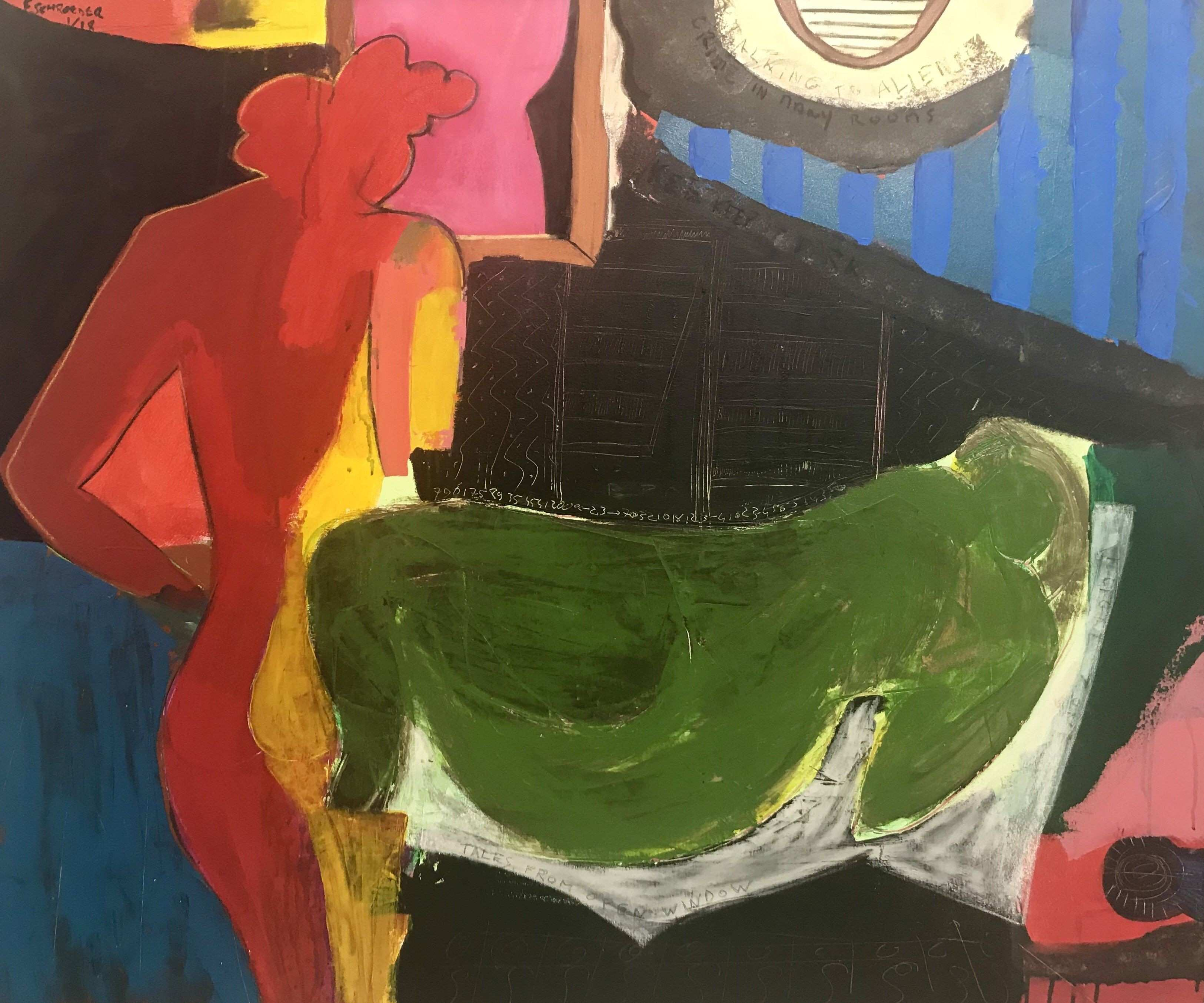 Frank Schroeder From The Black Window Acrylic and pastels on canvas