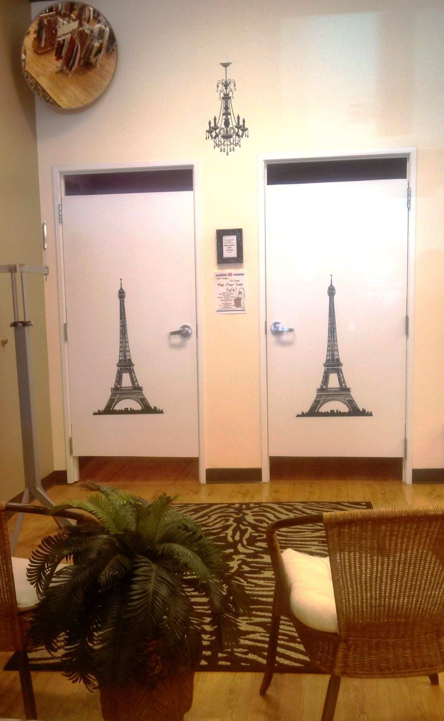 This is our fitting room area ce again we added some wall decals