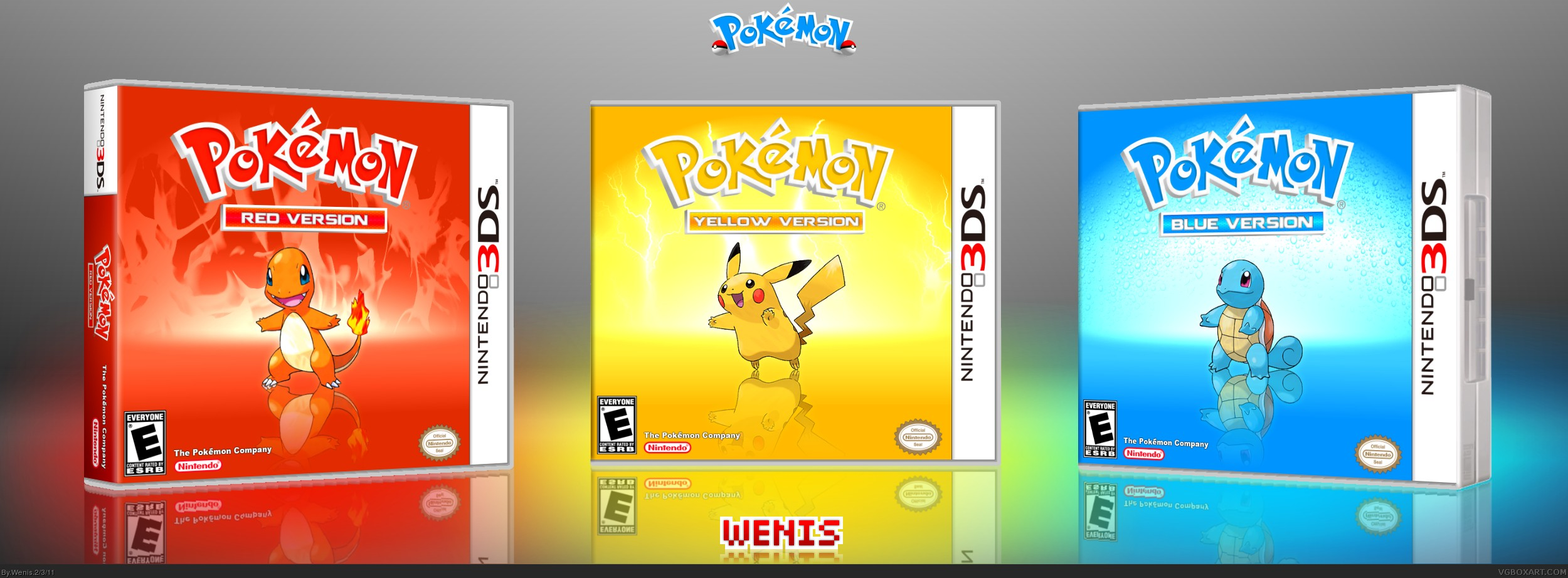 Viewing full size Pokemon Red Yellow & Blue box cover