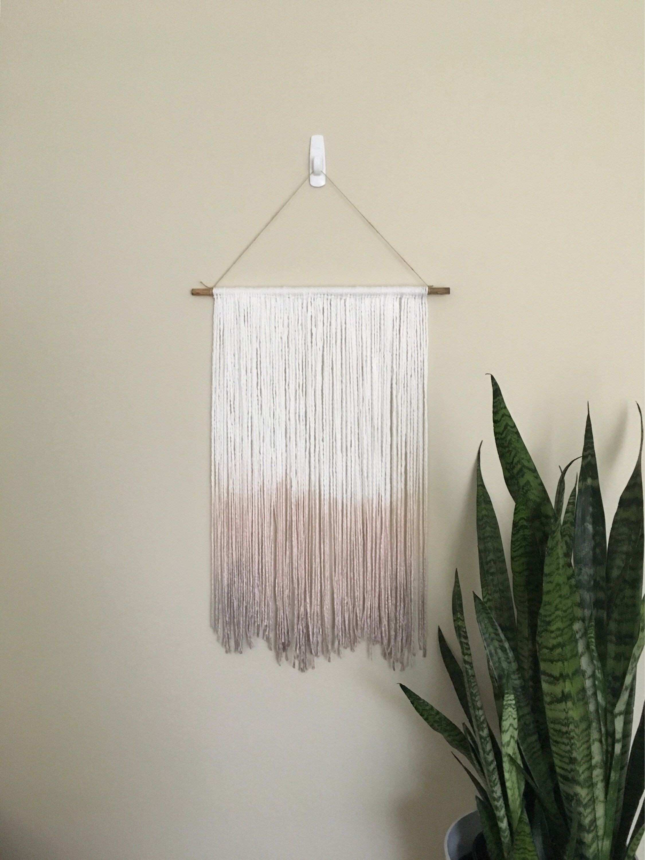 Medium white and rose pink to suble purple dip dyed yarn tapestry