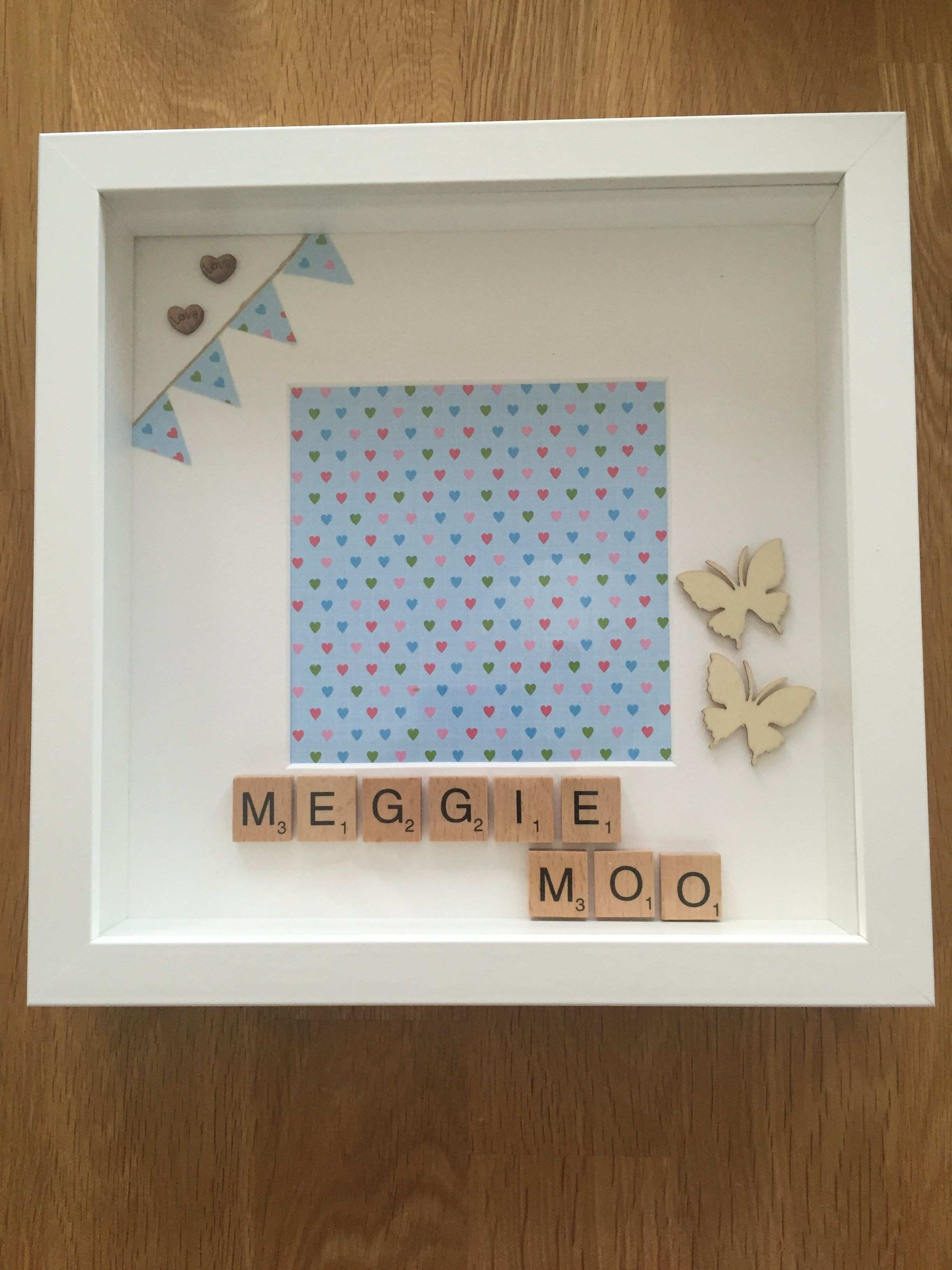 M is if Meggie Moo personalised memory frame scrabble letters