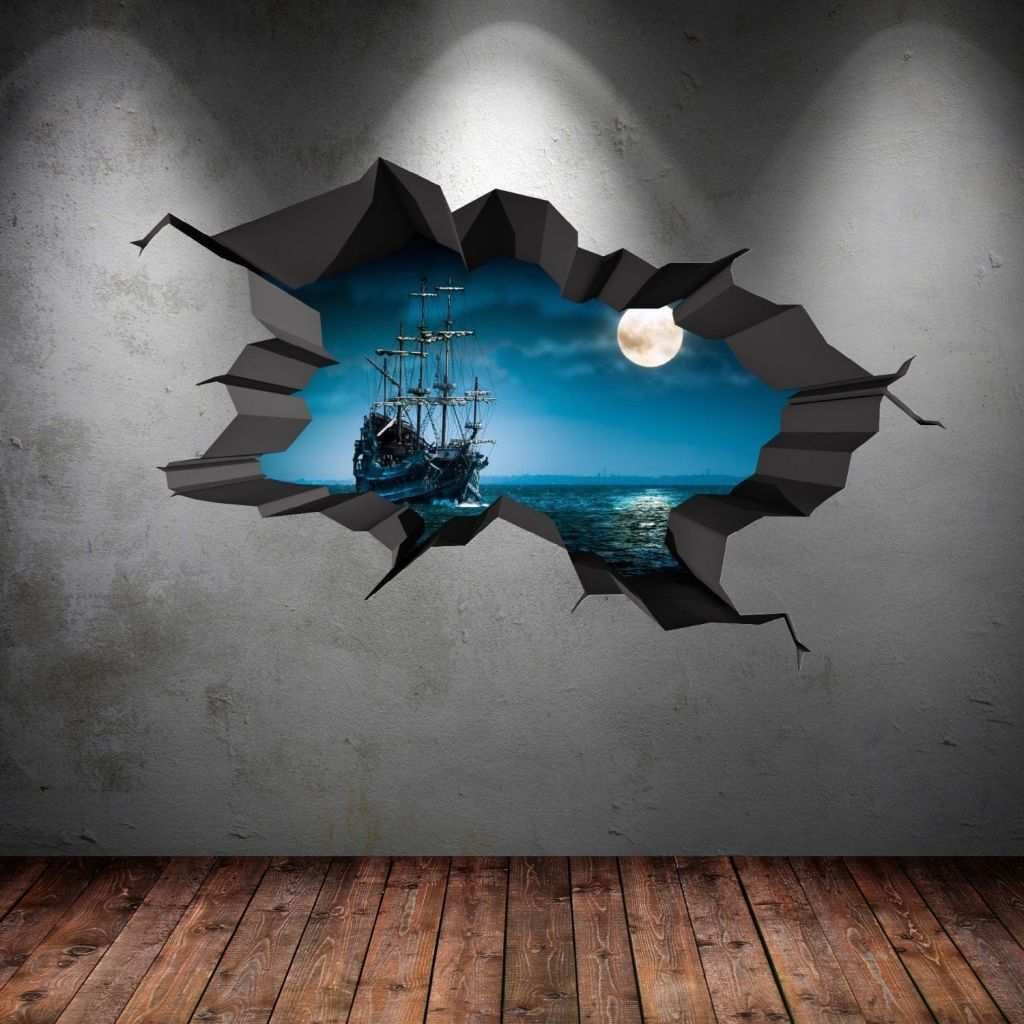 Boys Wall Art Awesome Pirate Ship Sea Cave Porthole Moon Cracked 3d Wall Art Sticker Boys