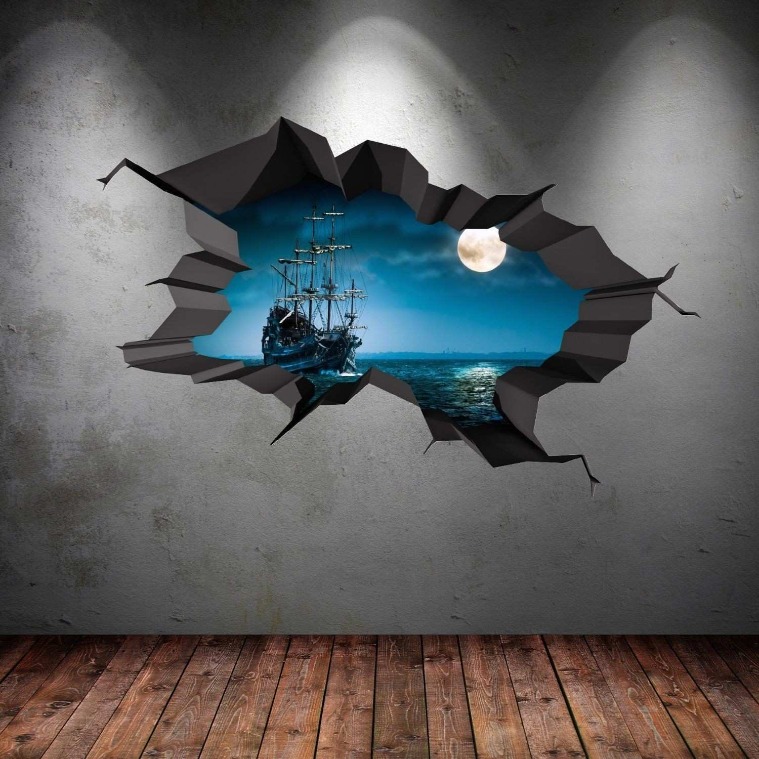 PIRATE SHIP SEA CAVE PORTHOLE MOON CRACKED 3D WALL ART STICKER BOYS
