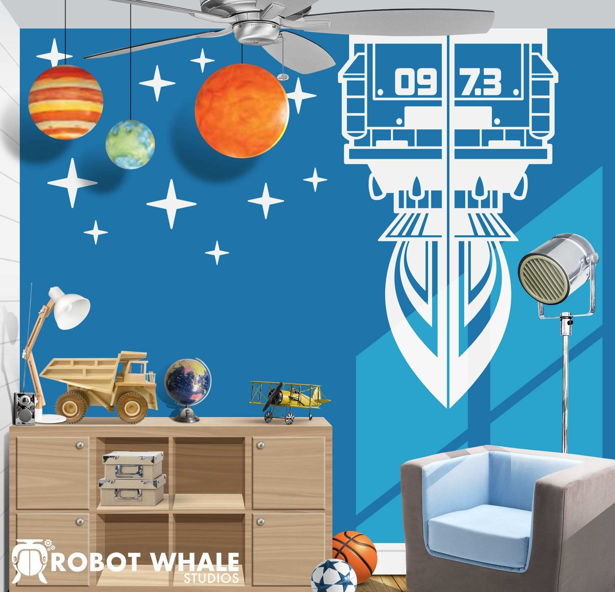 Rocket blasting off in to space vinyl decal for an outer space kids