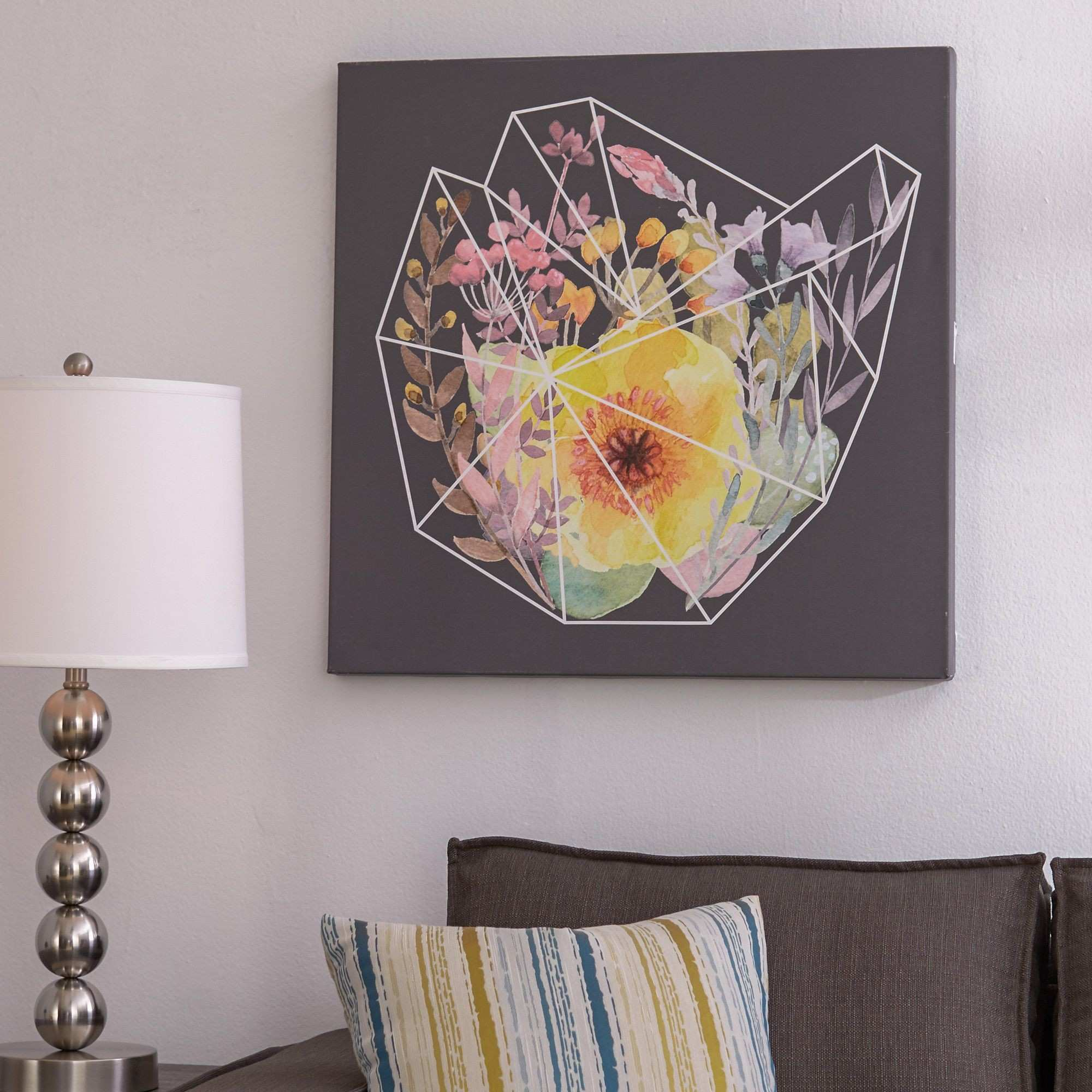 Words to Grow By Flowering Polygon by 5by5collective Painting Print