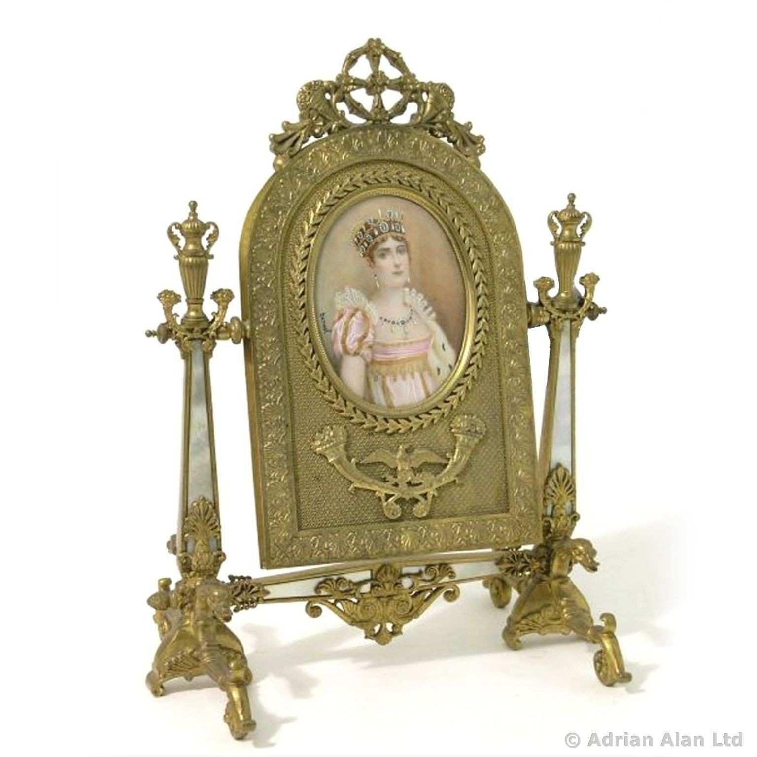 A Palais Royal Gilt Bronze and Mother of Pearl Toilet Mirror