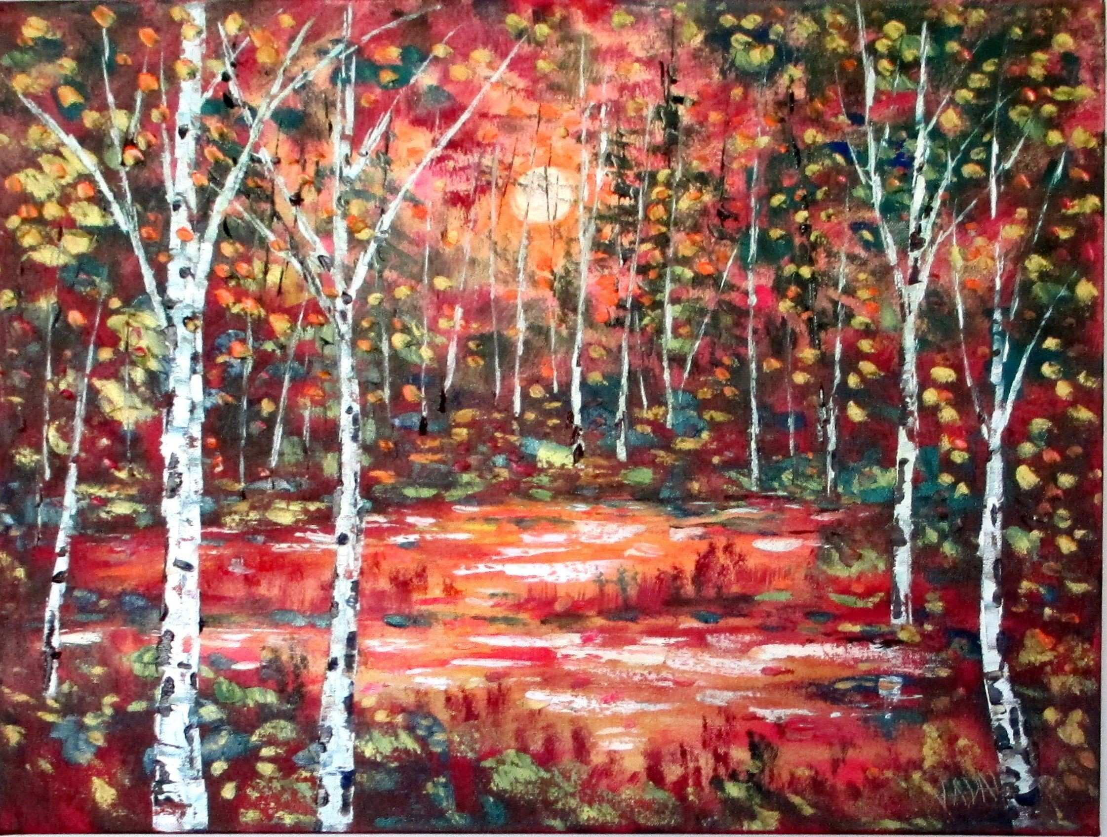 Copper Birch Trees by Jean Vadal Smith Bentson $100