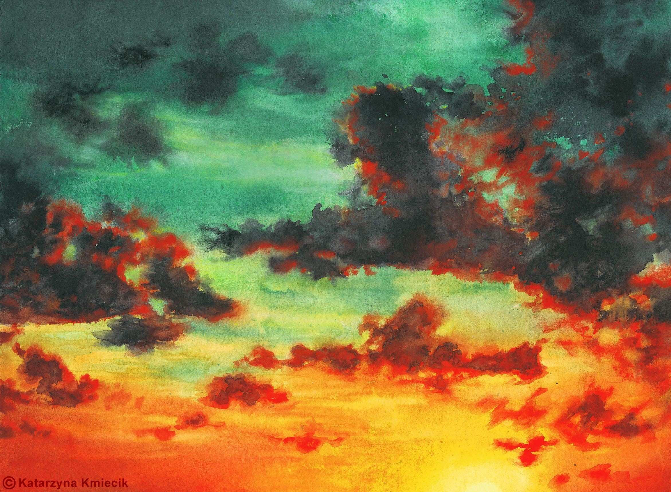 Vibrant watercolor painting of the colorful sunset sky titled Sky