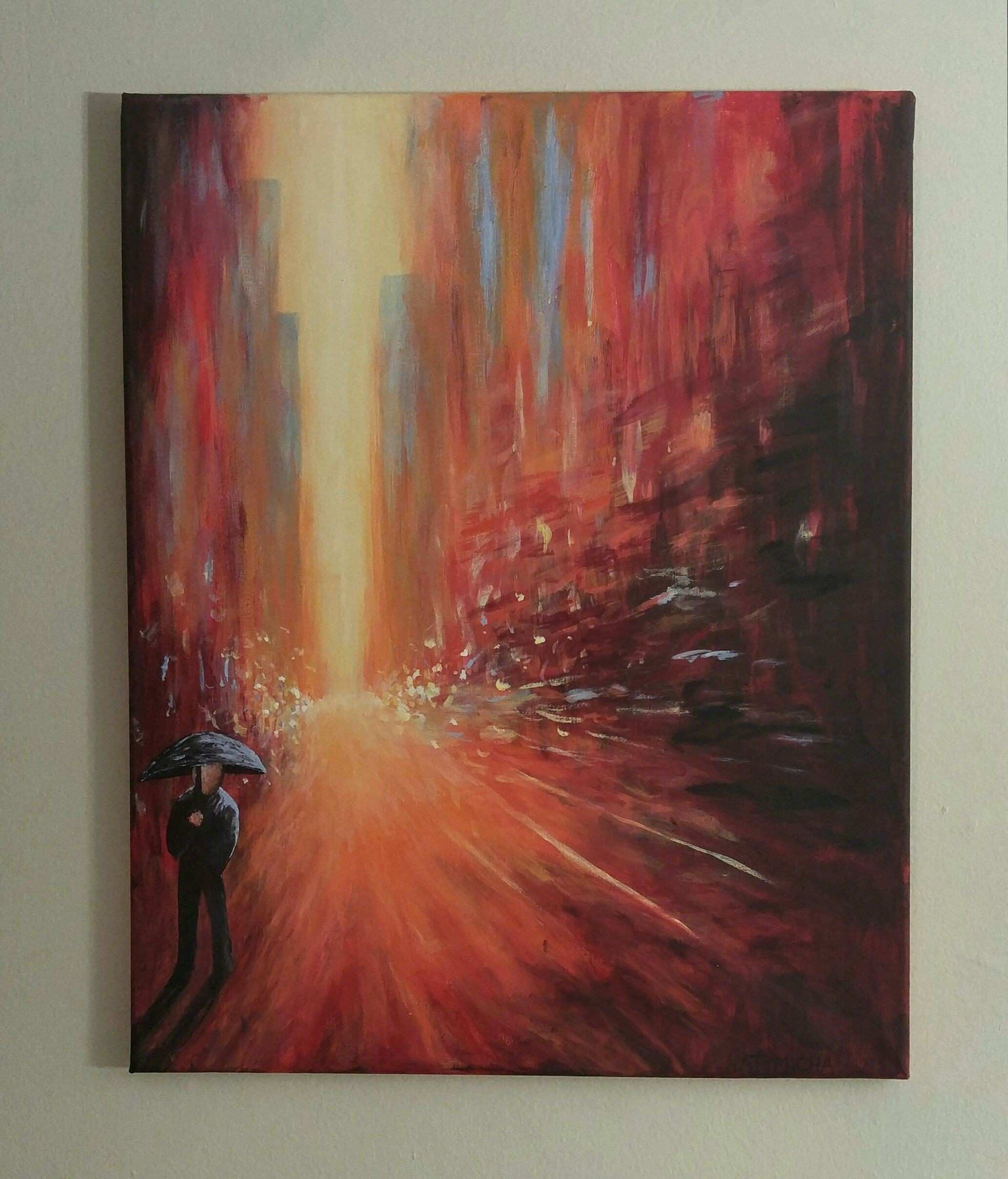 A Stroll in the City Acrylics 16 x 20 in imgur submitted by