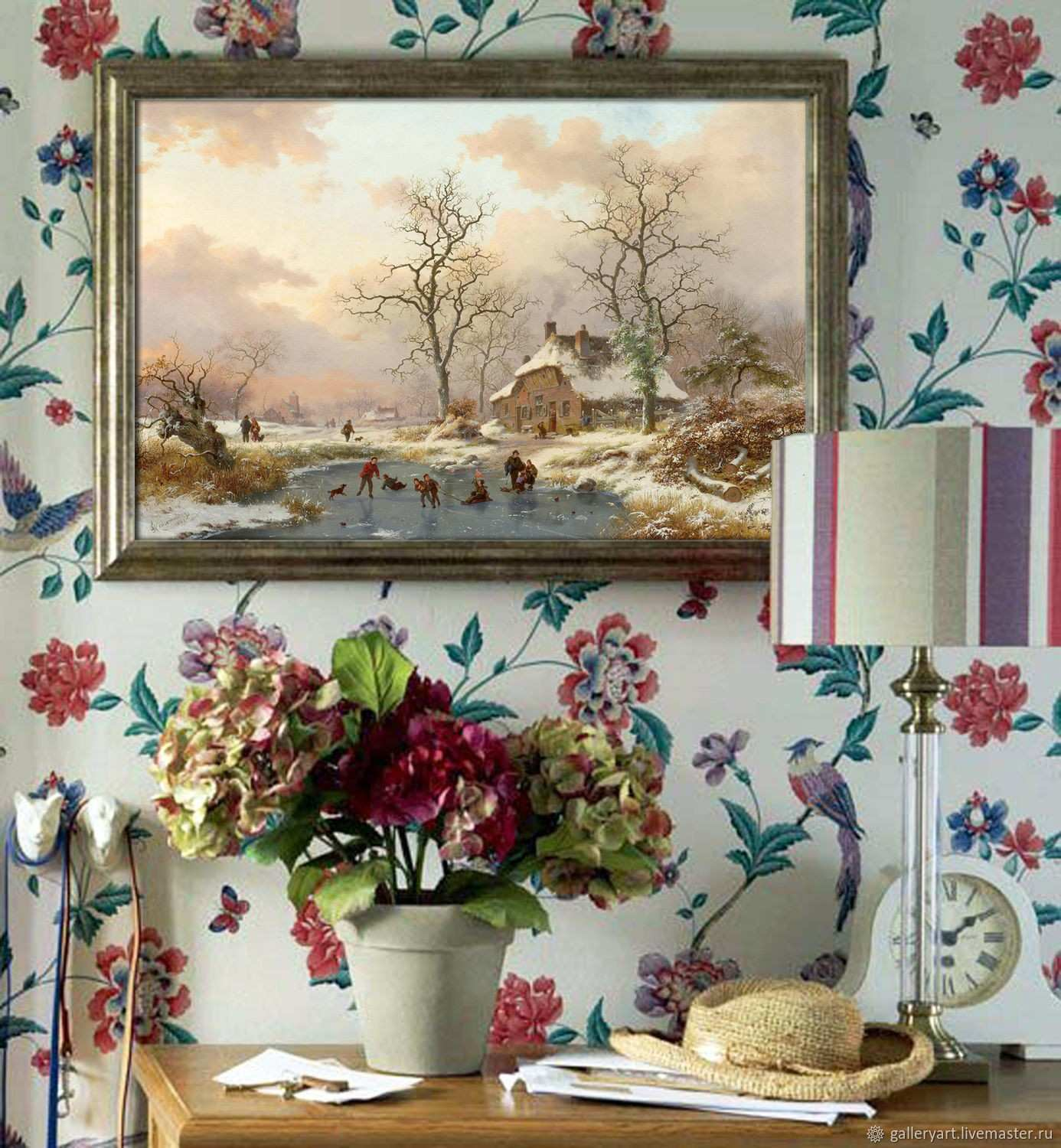 "The painting ""Dutch landscape Winter skiing"" – shop online on"