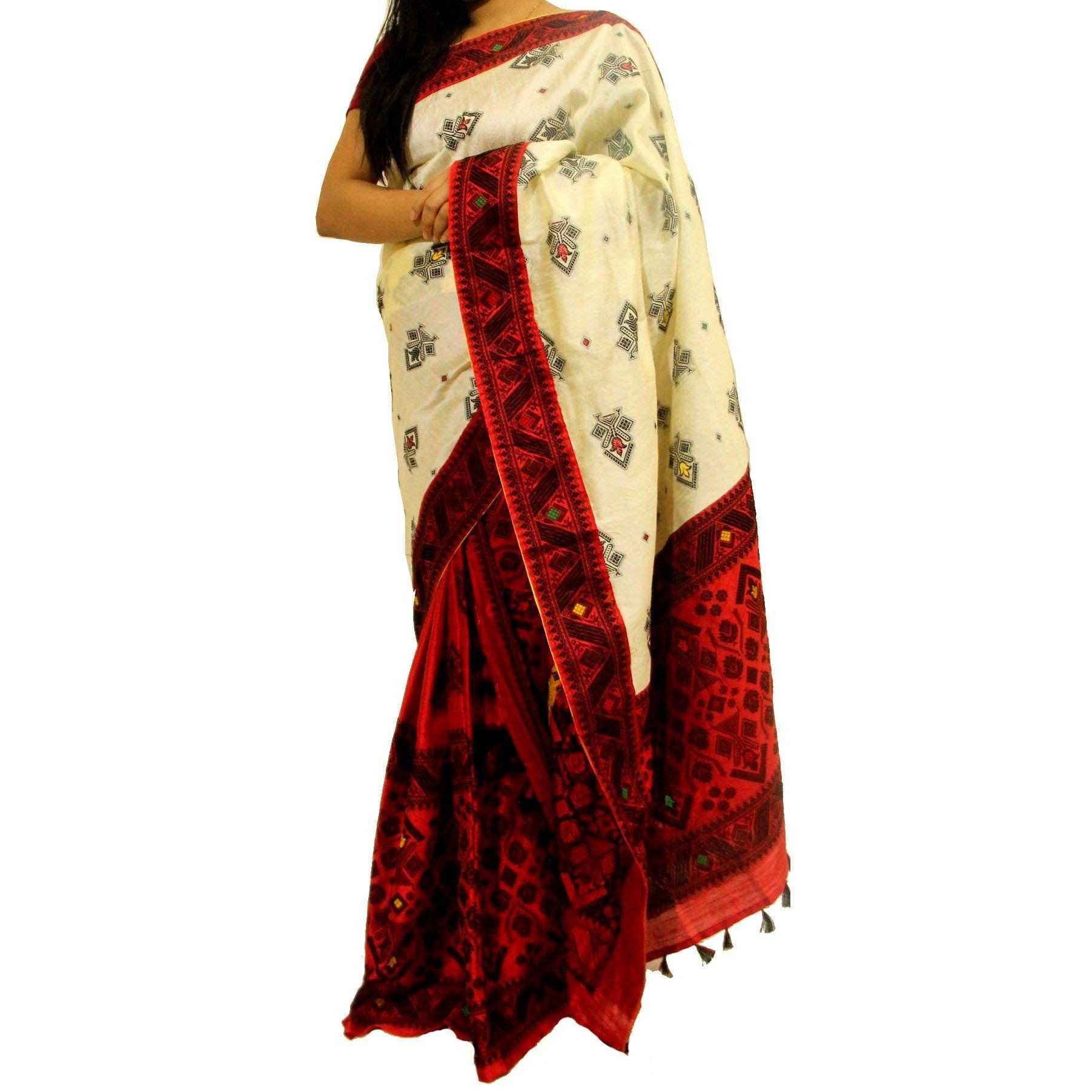 Mekhela Chador f White Art Silk Saree Buy Mekhela Chador f