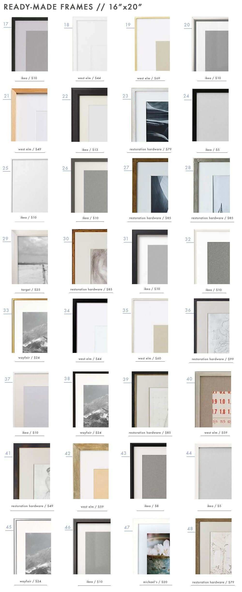128 Ready Made Frames to Get You Gallery Wall Ready