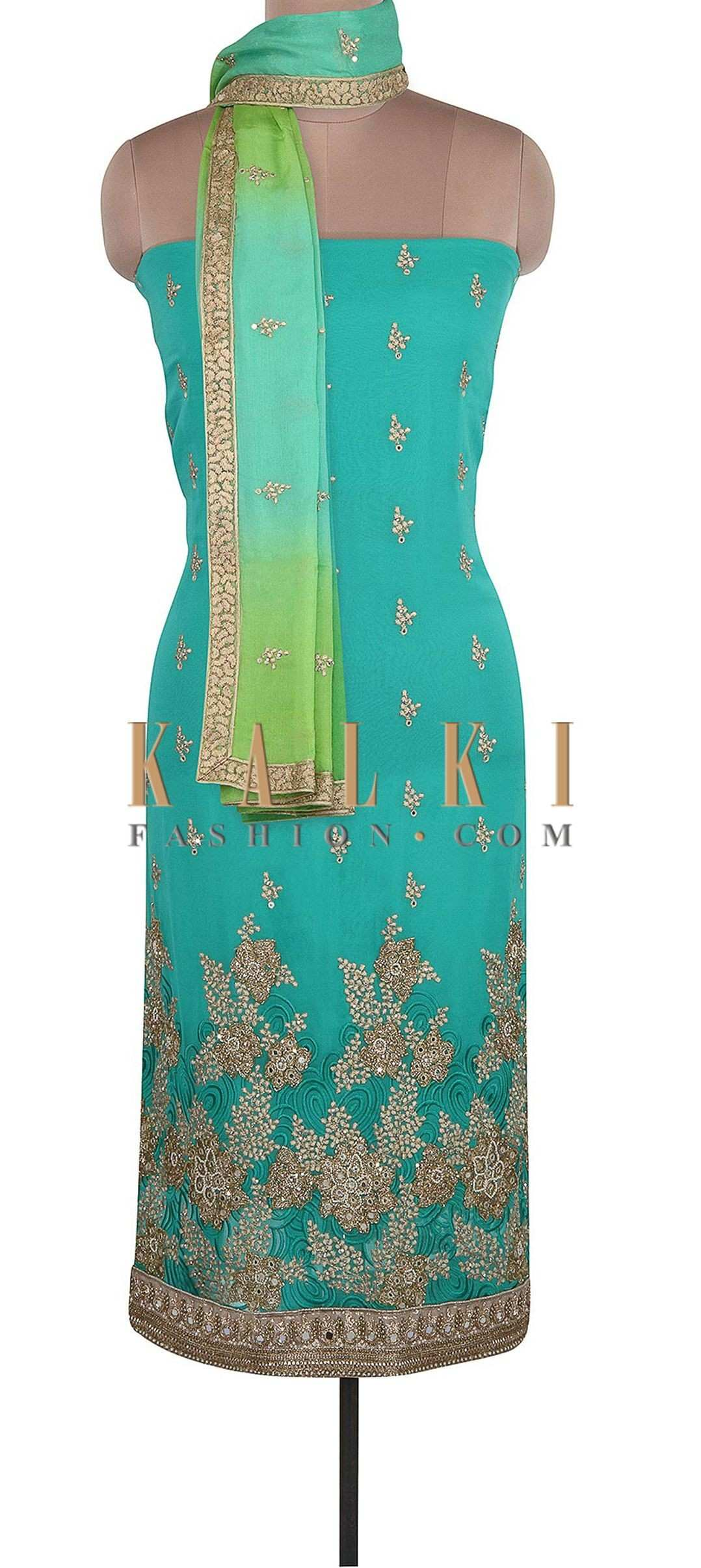 Sea Blue Unstitched Suit Adorn In Resham And Mirror Embroidery ly