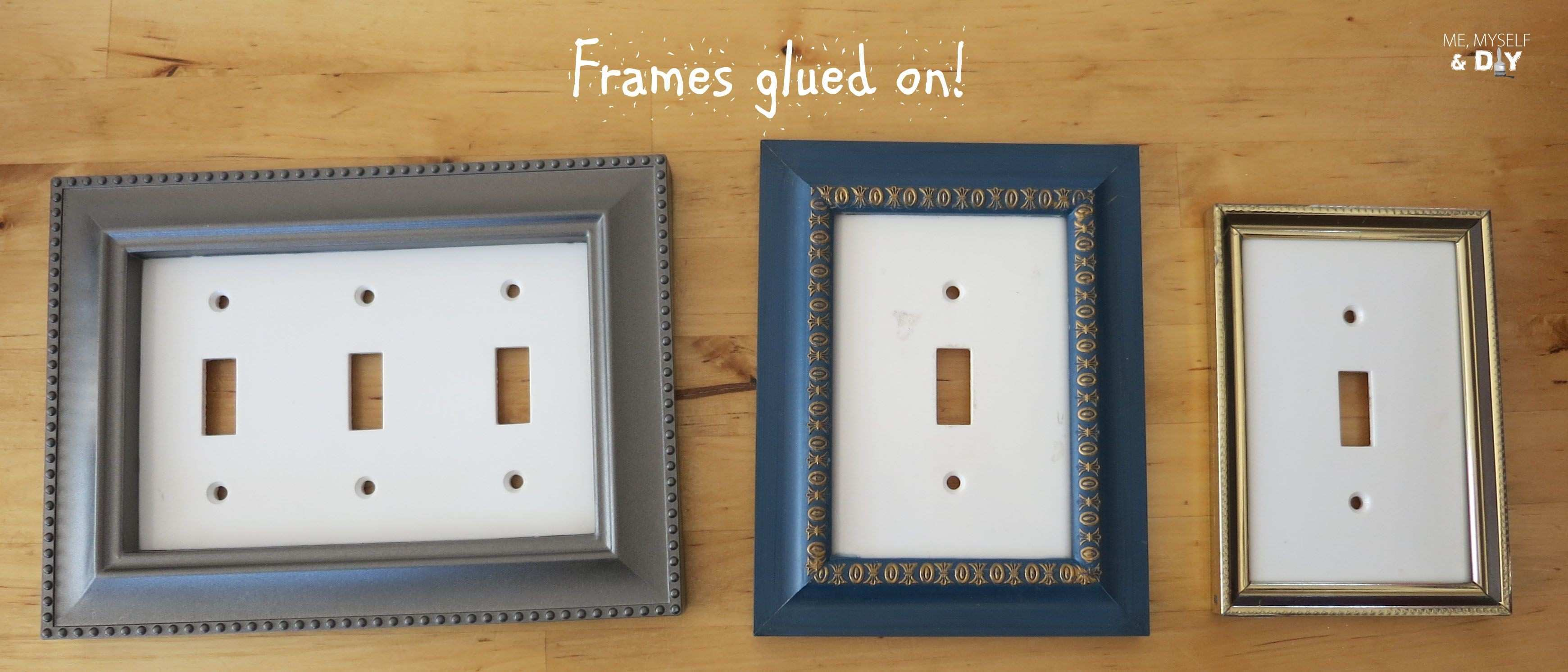 DIY switch plate update used small photo frames spray paint