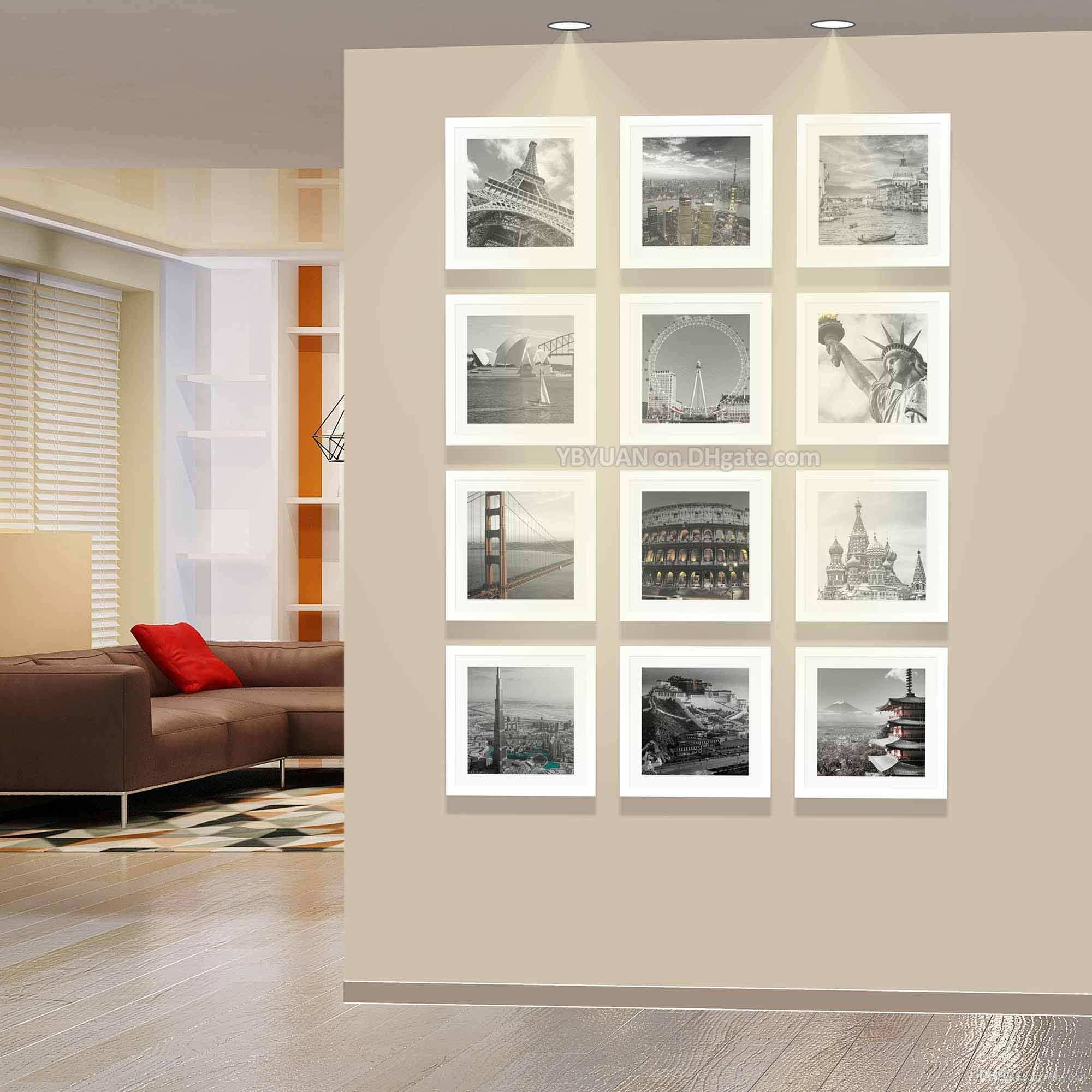 Modern Square Wall White Frames 32 5cm 32 5cm Wooden Picture