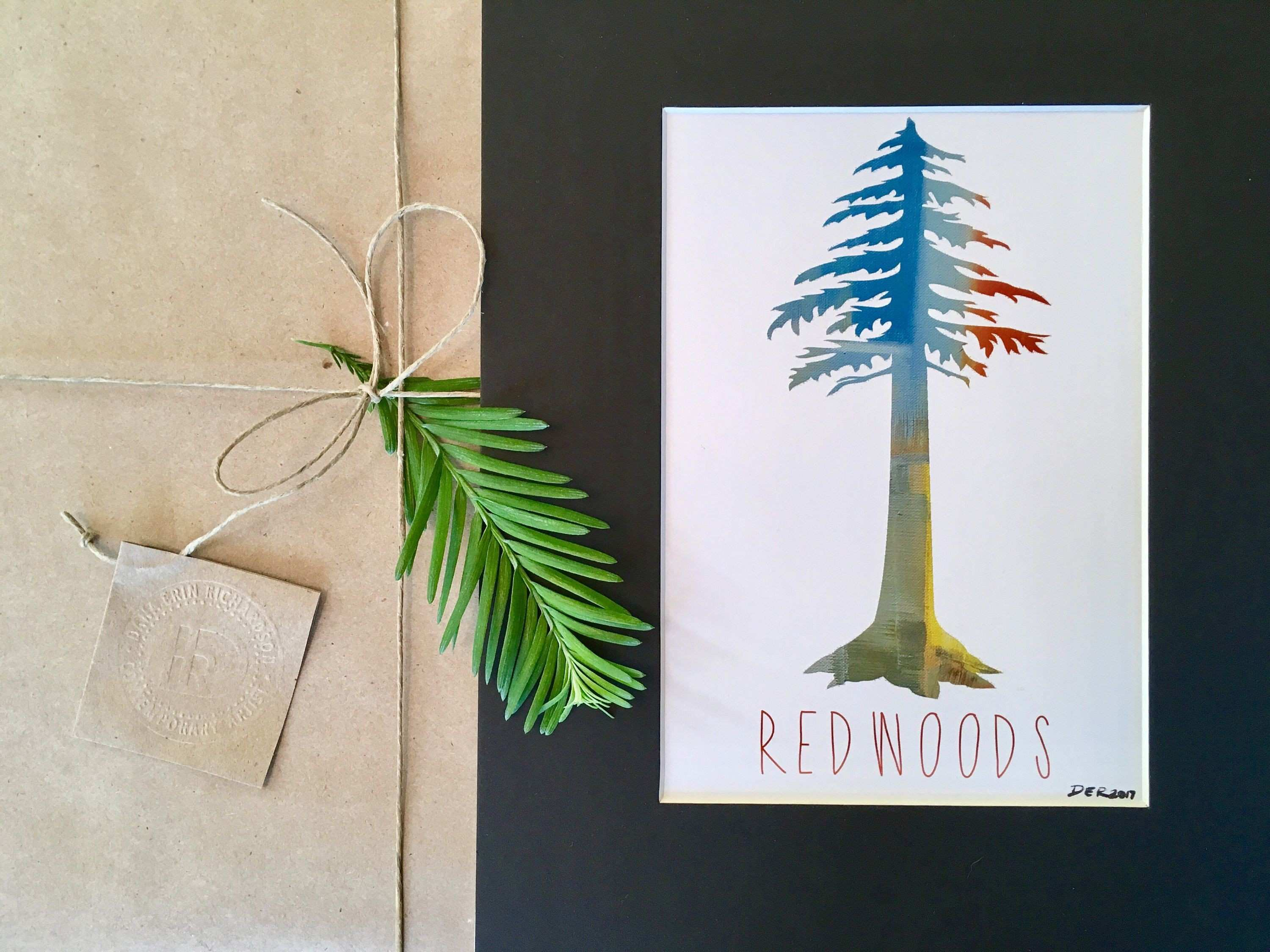 Redwood Tree Painting Giclee Print Print California State Art
