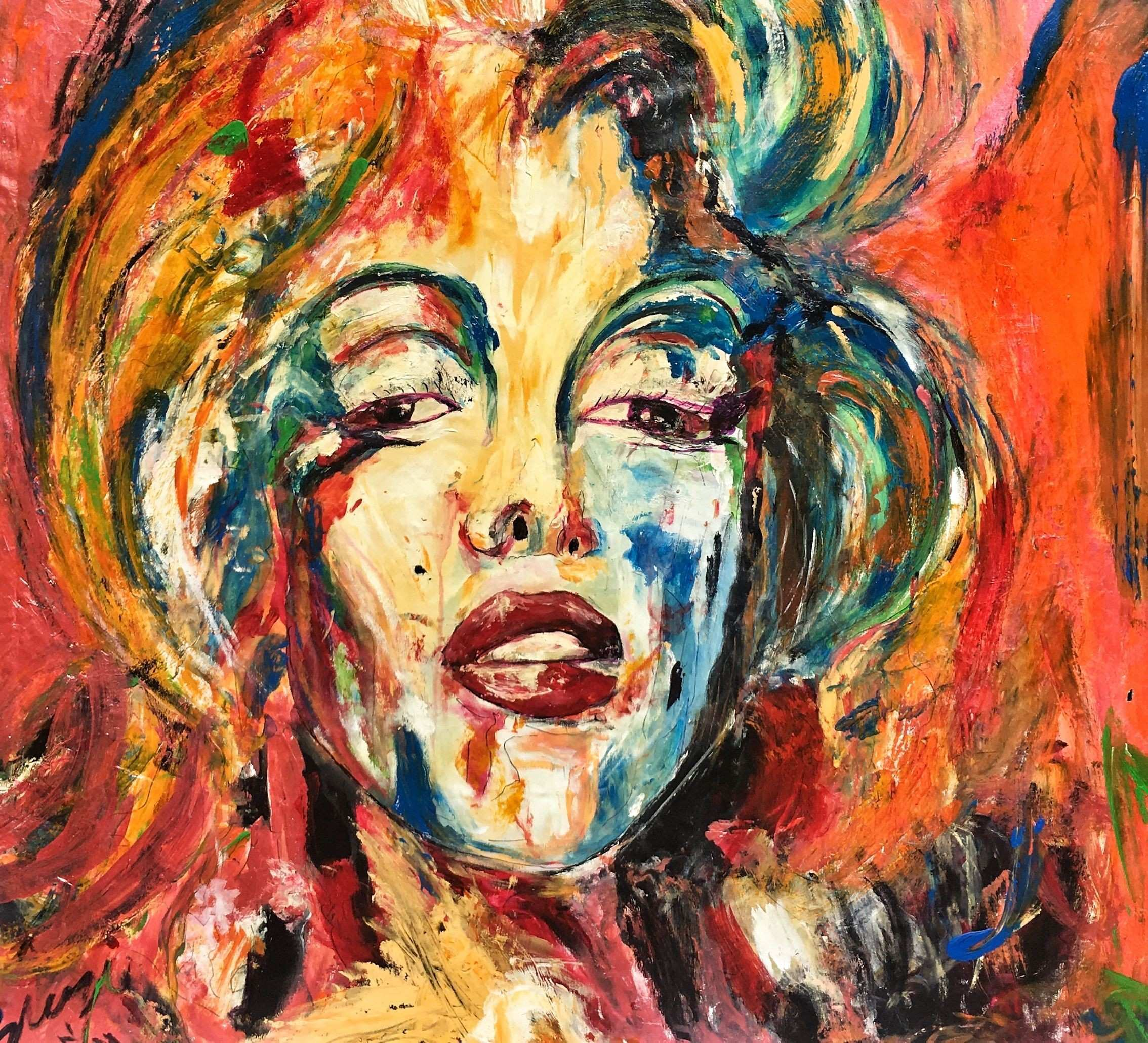 Marilyn Monroe the burst of colors and expression Portrait