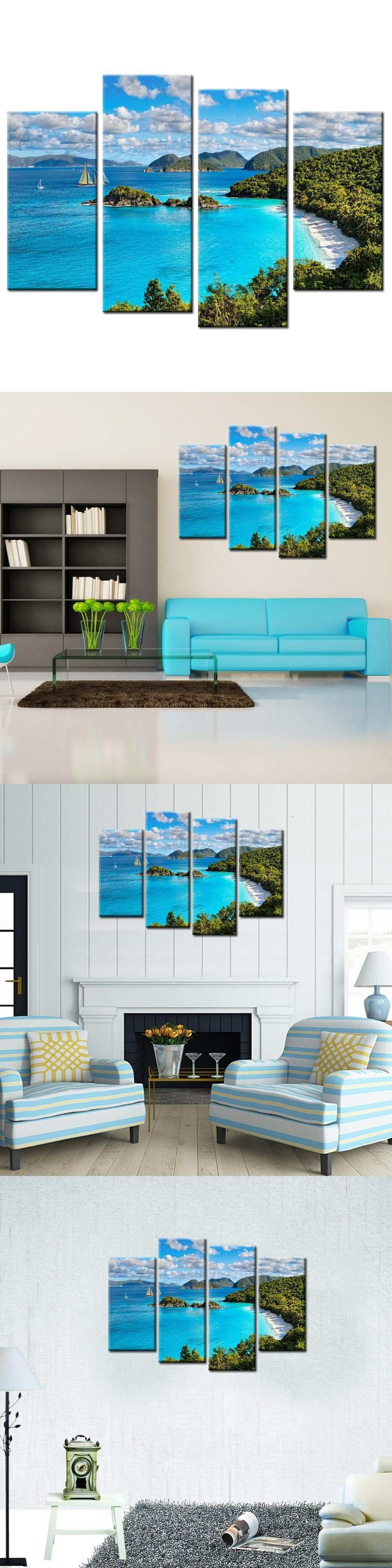 4 Panels Spray Wall Painting Blue Sky And White Clouds Seaview