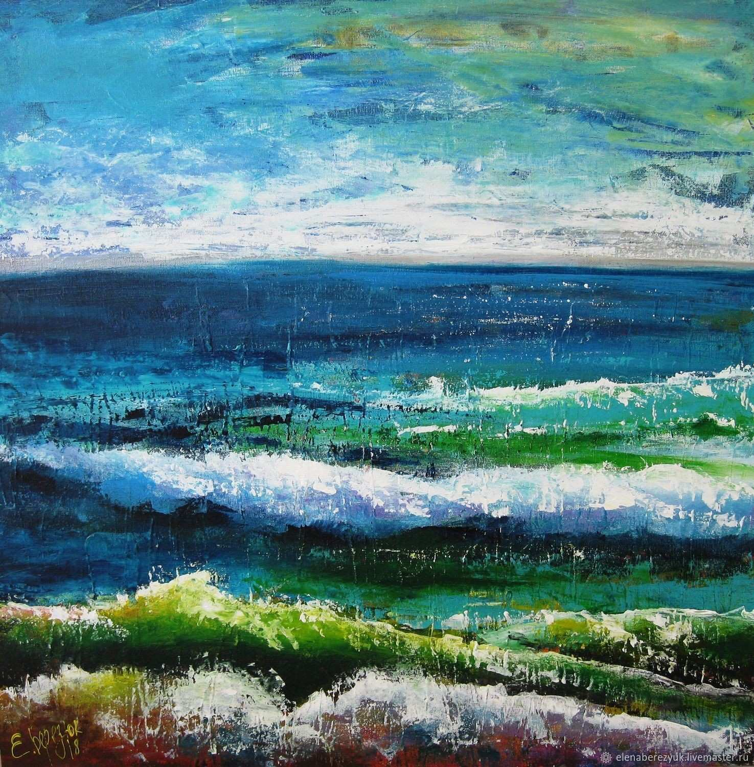 Abstract acrylic seascape painting Living room wall art Blue