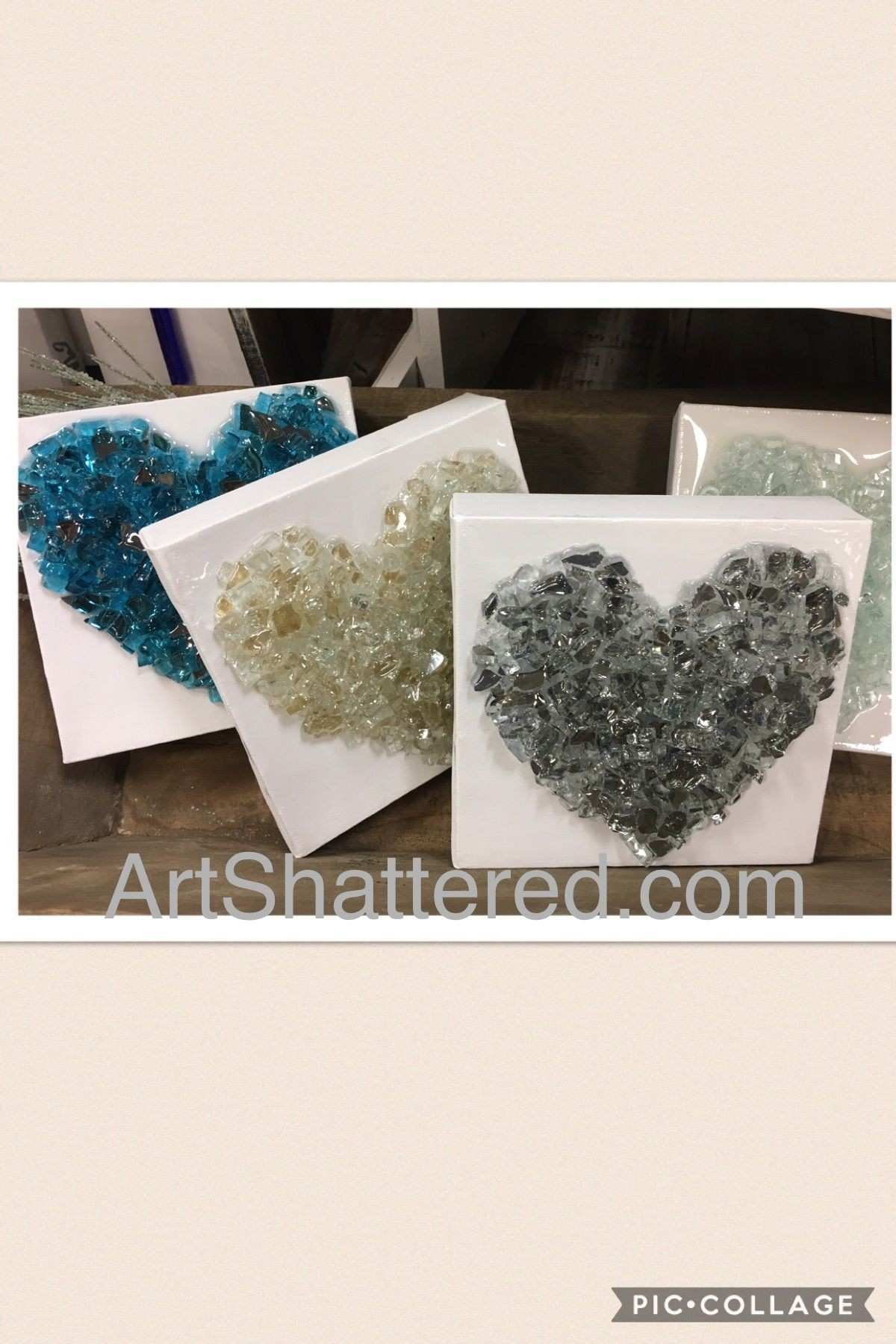Adorable 3D glass hearts on canvas by artshattered