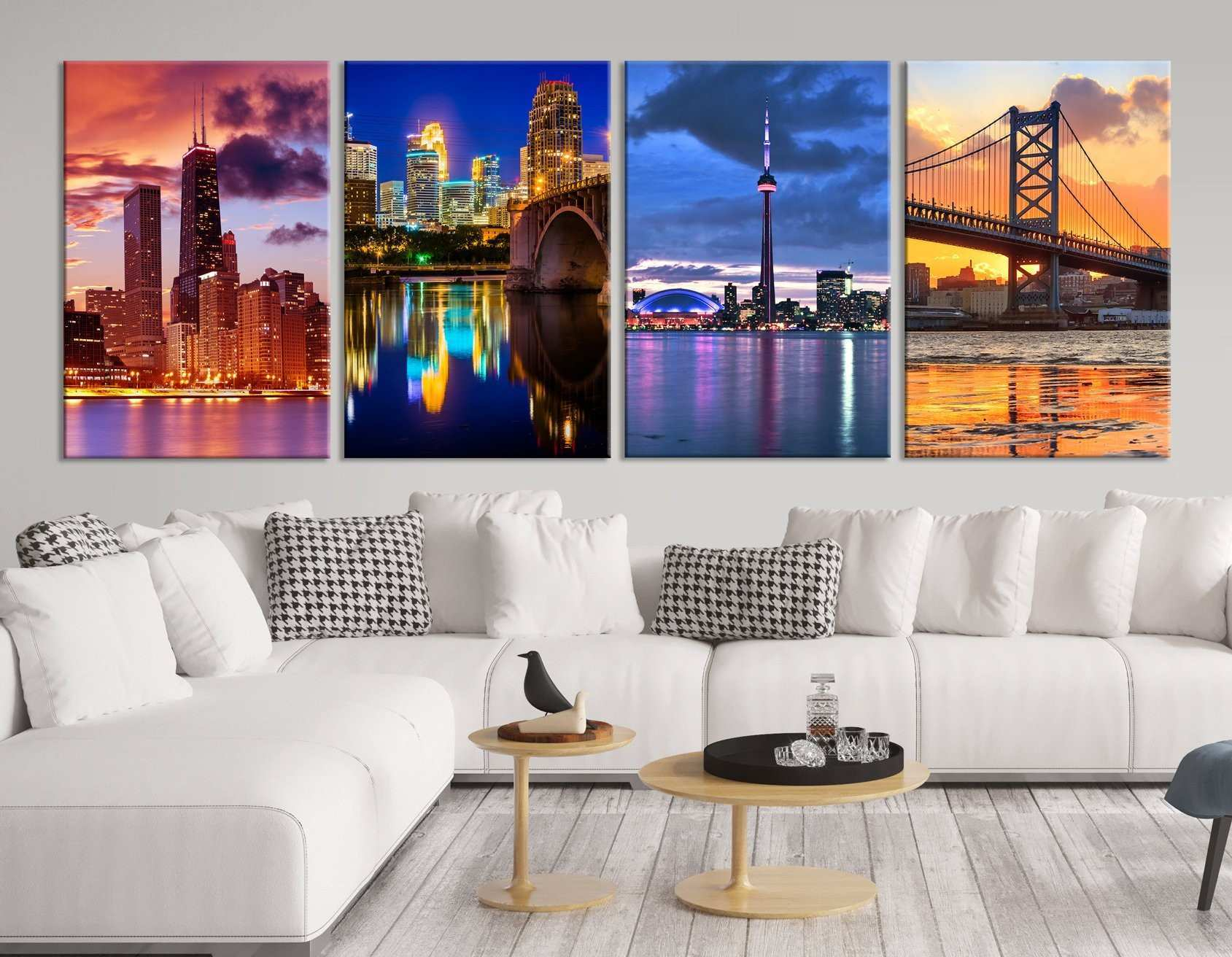 City Collage Wall Art Print Where You Have Lived Cities Canvas
