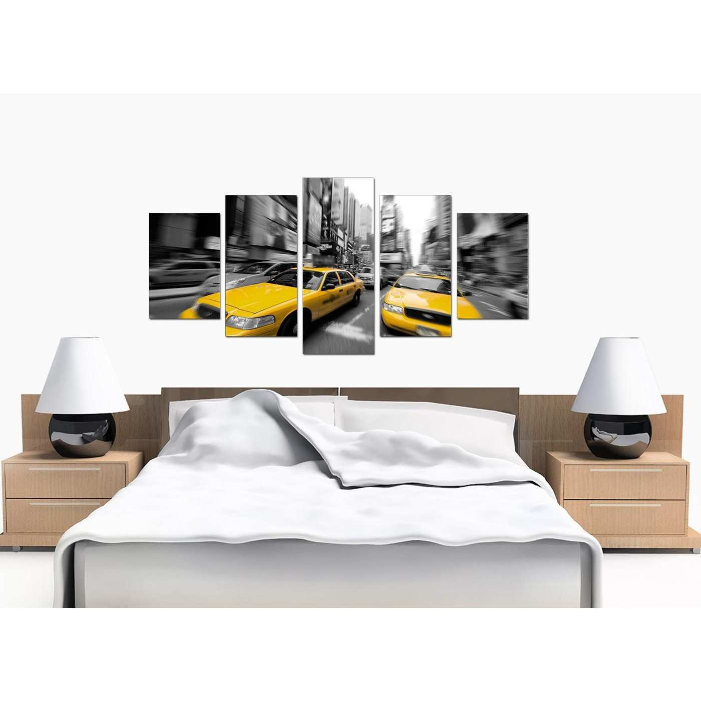 Yellow New York Taxi Canvas Prints Set of 5 in Black & White