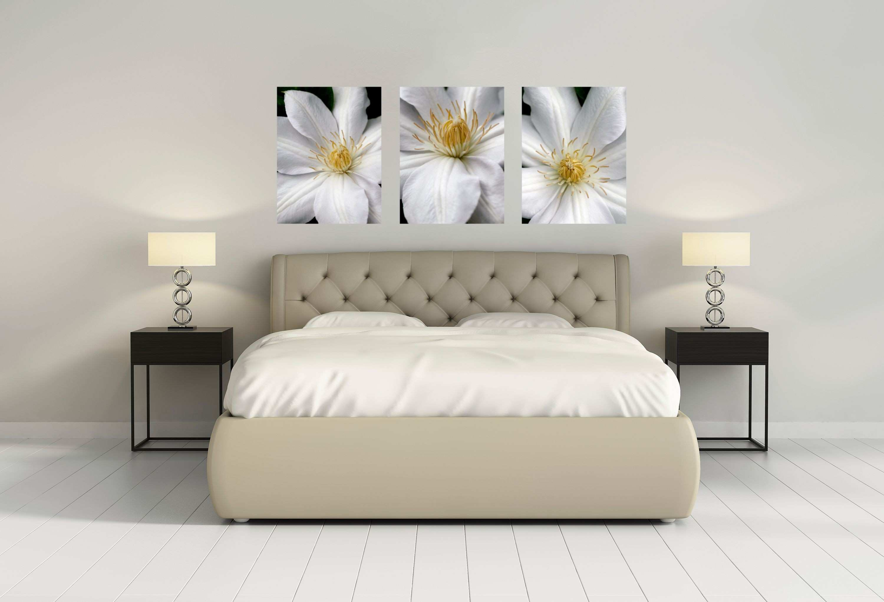 """three 24"""" x 30"""" gallery wrapped canvas giclee prints clematis"""