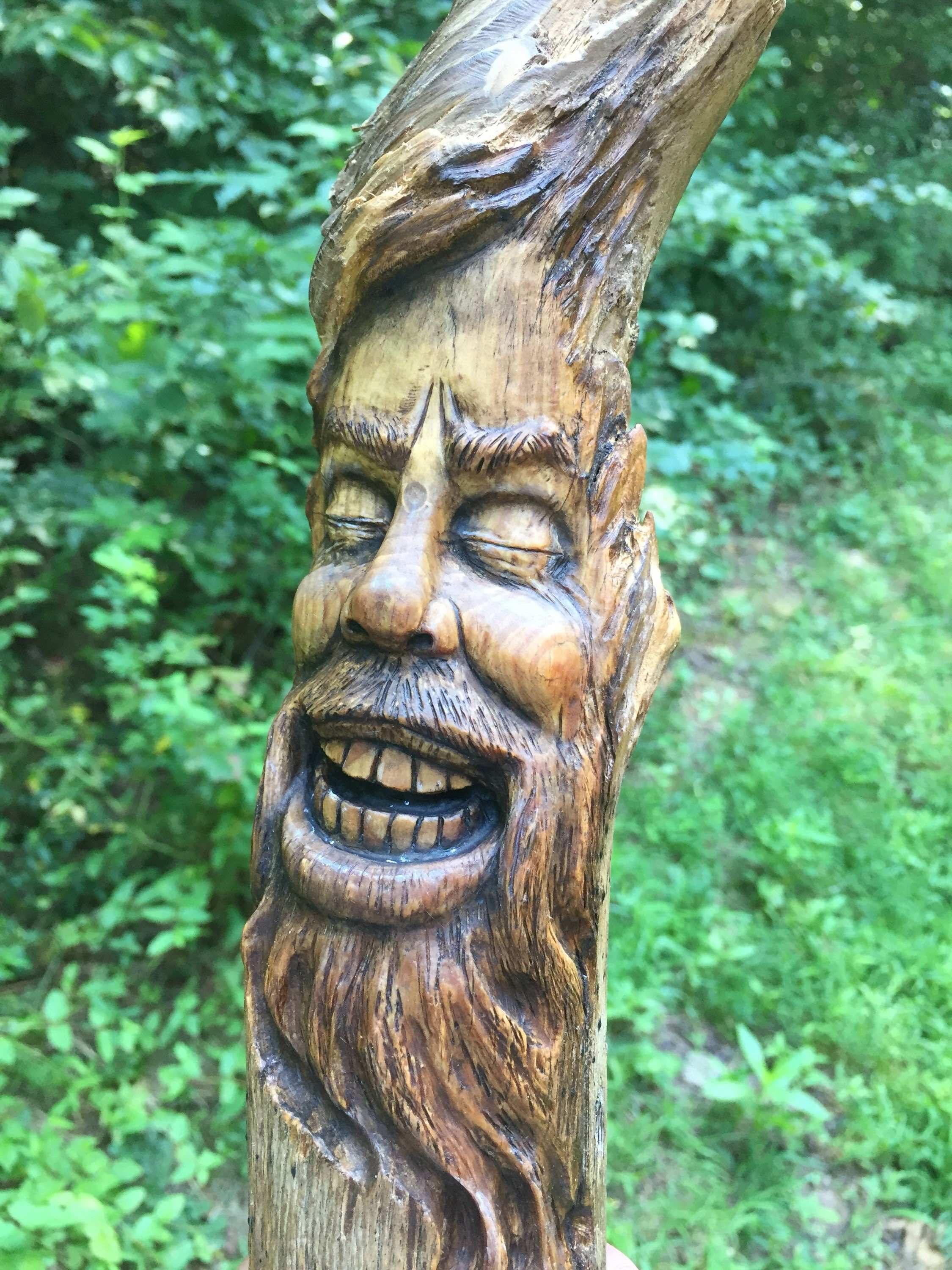 Wood Spirit Carving Wood Wall Art Hand Carved by Josh Carte