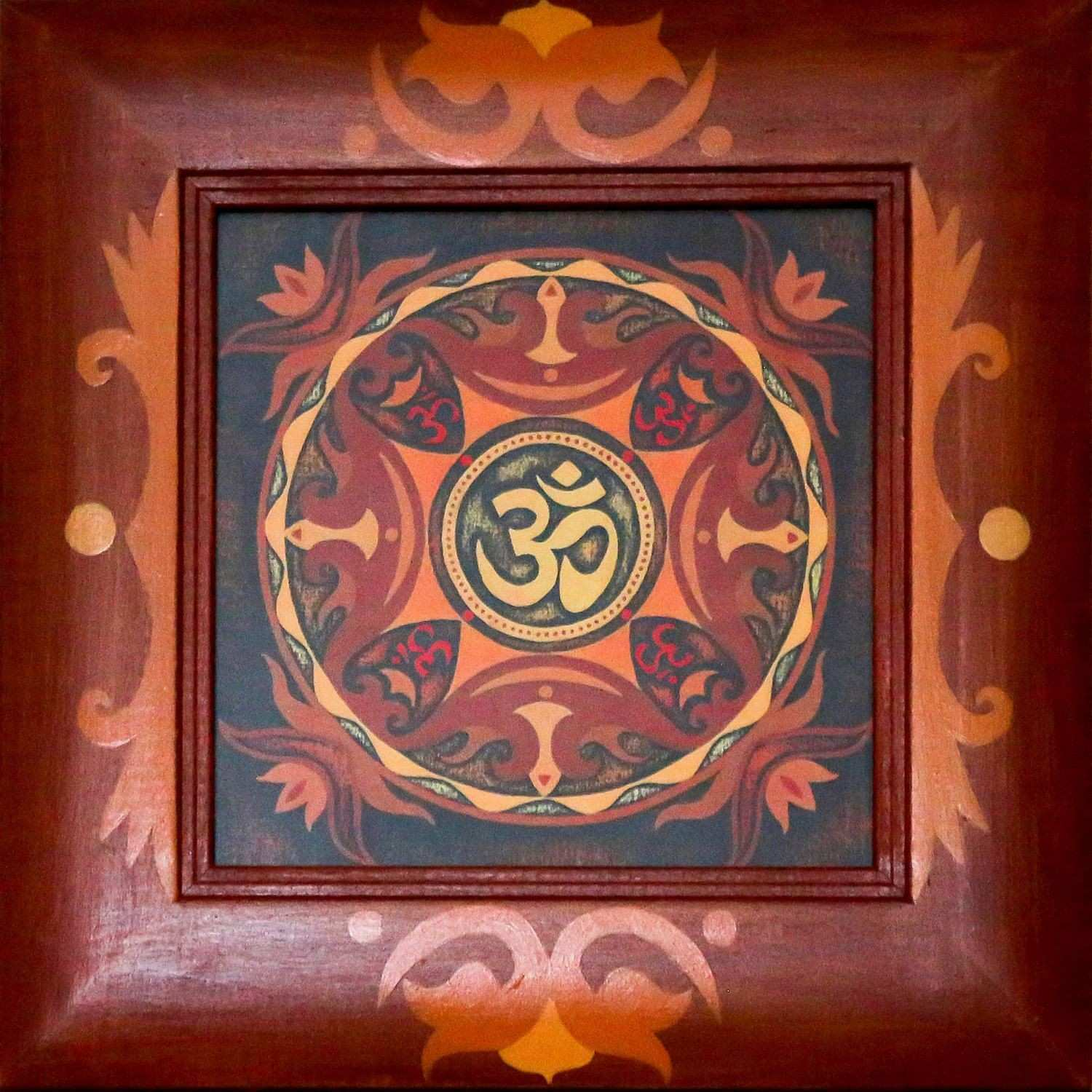 OM print mantra wooden frame glass mandala abstract original