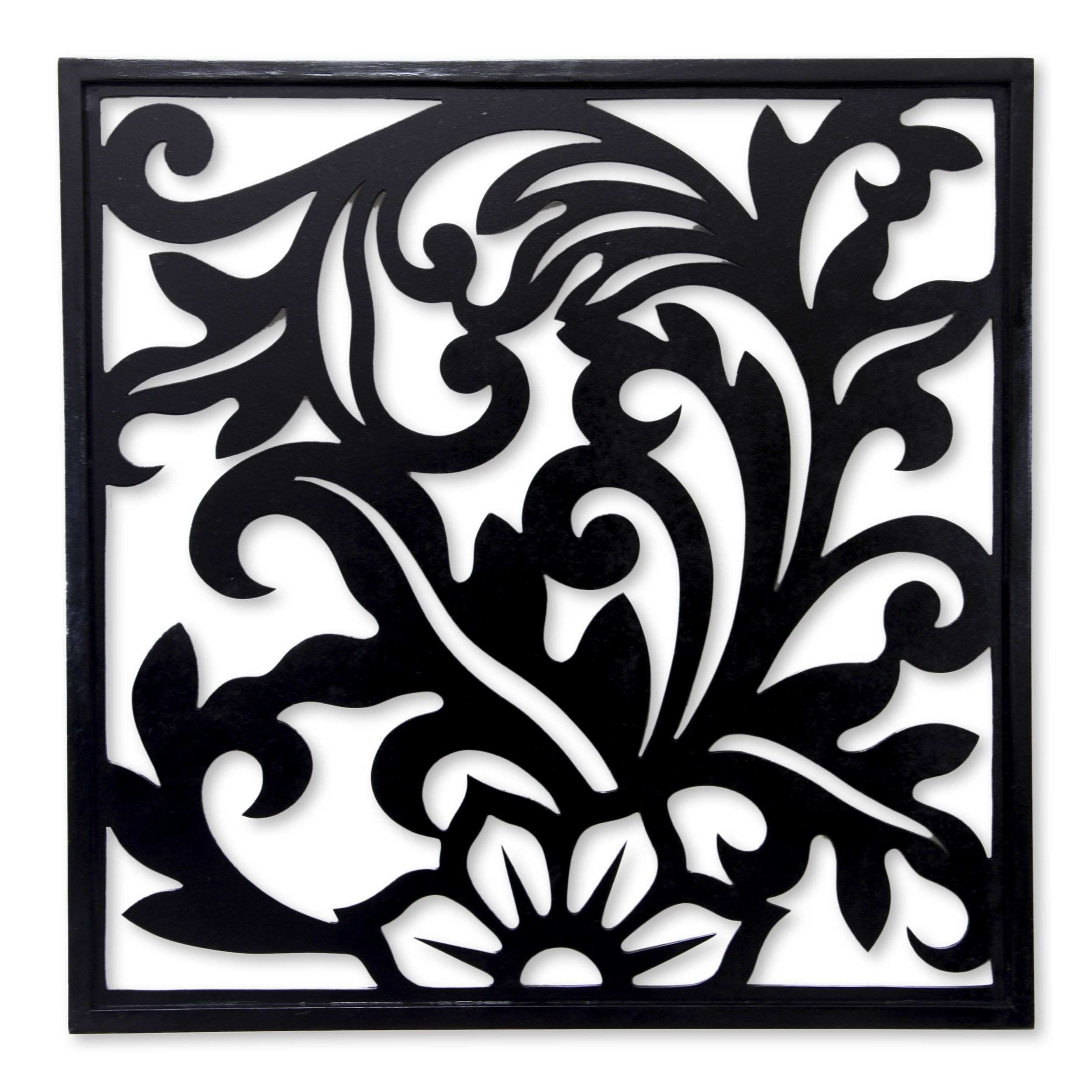 Balinese Floral Theme Wood Carving Wall Panel Silhouette Garden