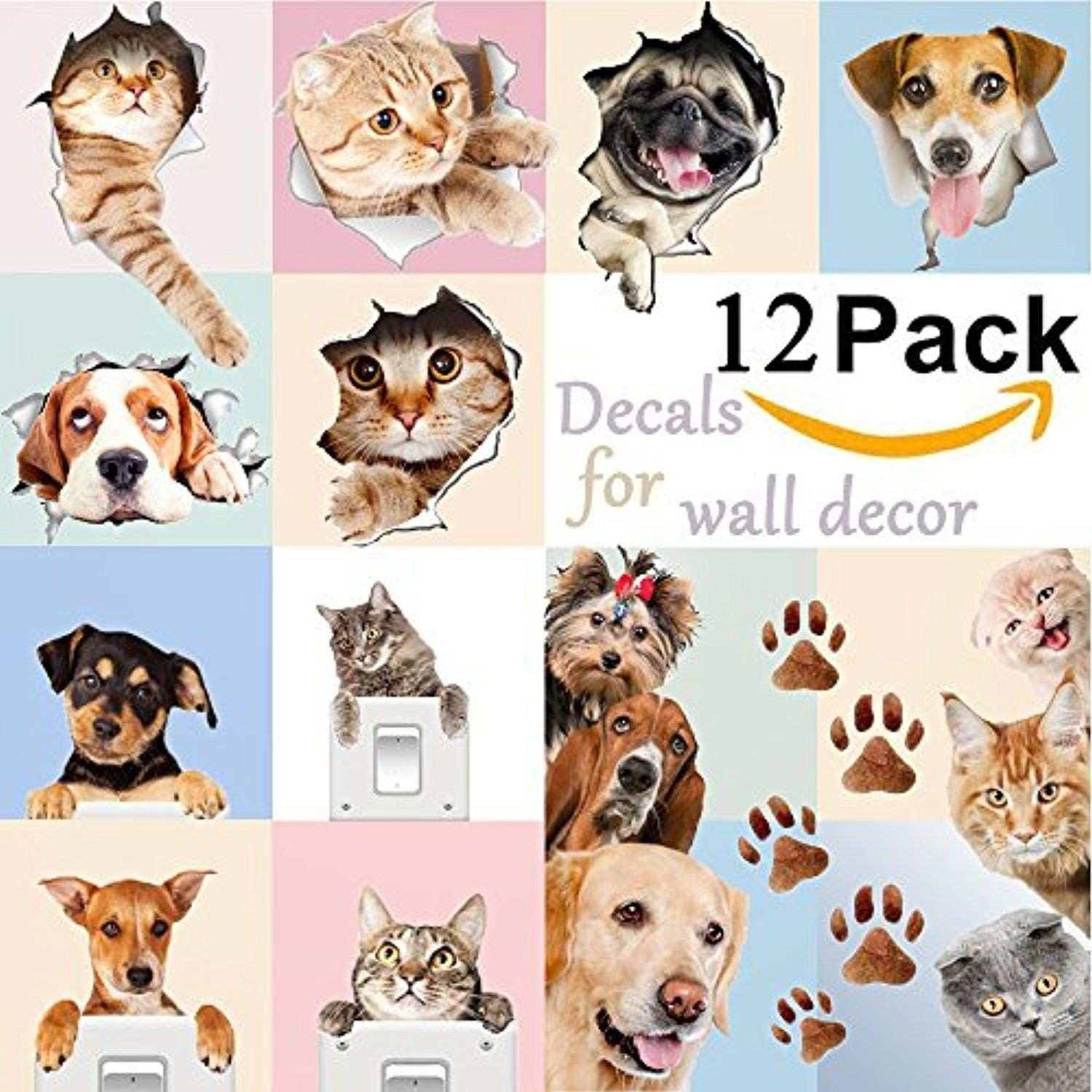3D Cute Dog and Cat Wall Decals for Kids Rooms Fun Animals Wall Art