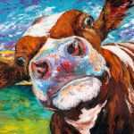 "Chandelier Canvas Wall Art Beautiful Marmont Hill ""curious Cow I"" Painting Print On Wrapped Canvas"
